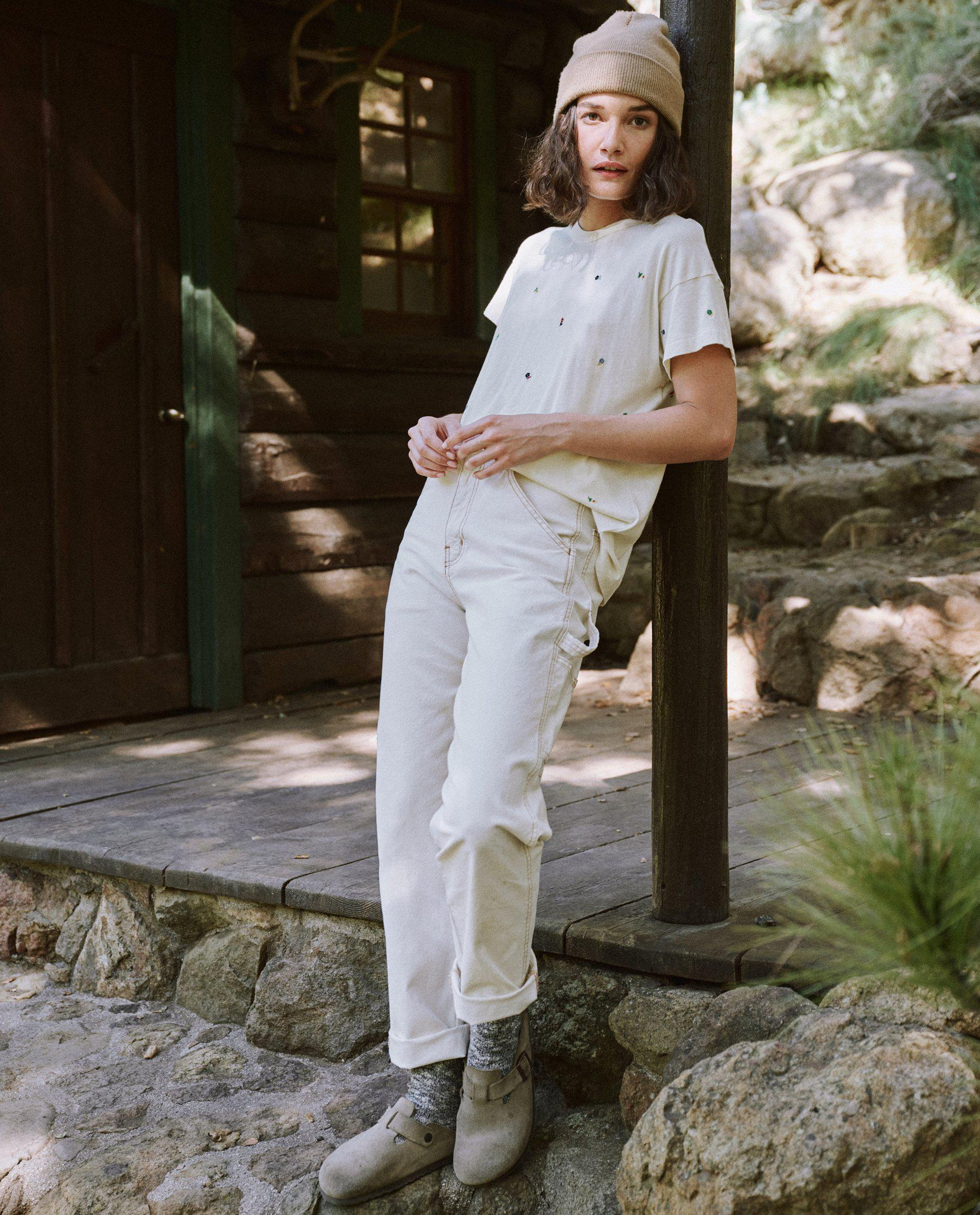 The Boxy Crew. Embroidered -- Washed White with Ditsy Floral Embroidery