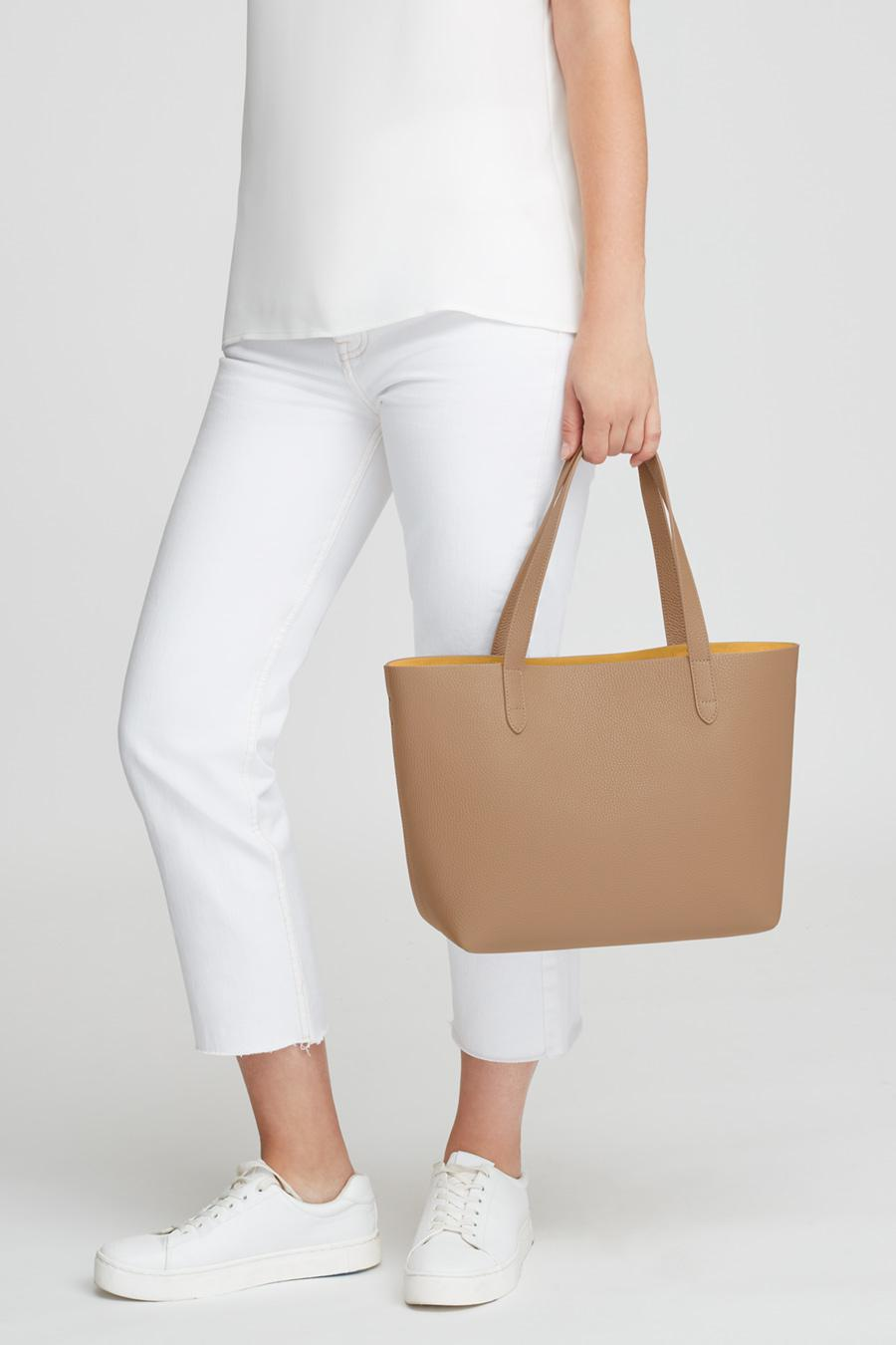 Women's Small Structured Leather Tote Bag in Cappuccino/Yellow | Pebbled Leather by Cuyana 5
