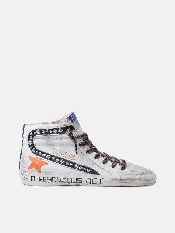 Slide sneakers in canvas with decorative studs