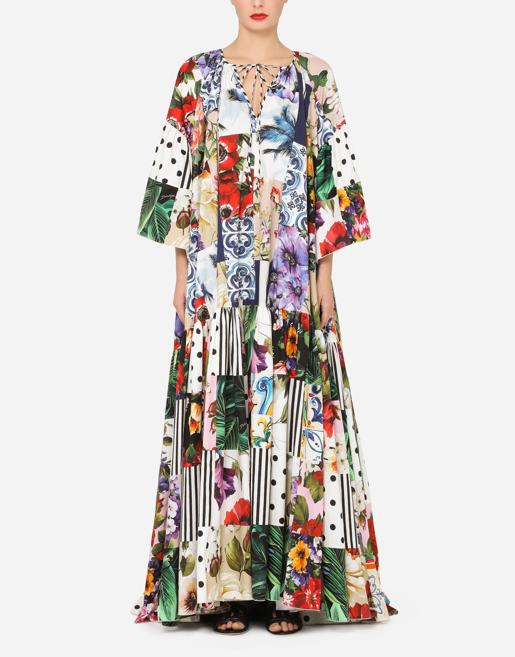 Long patchwork poplin dress with short sleeves