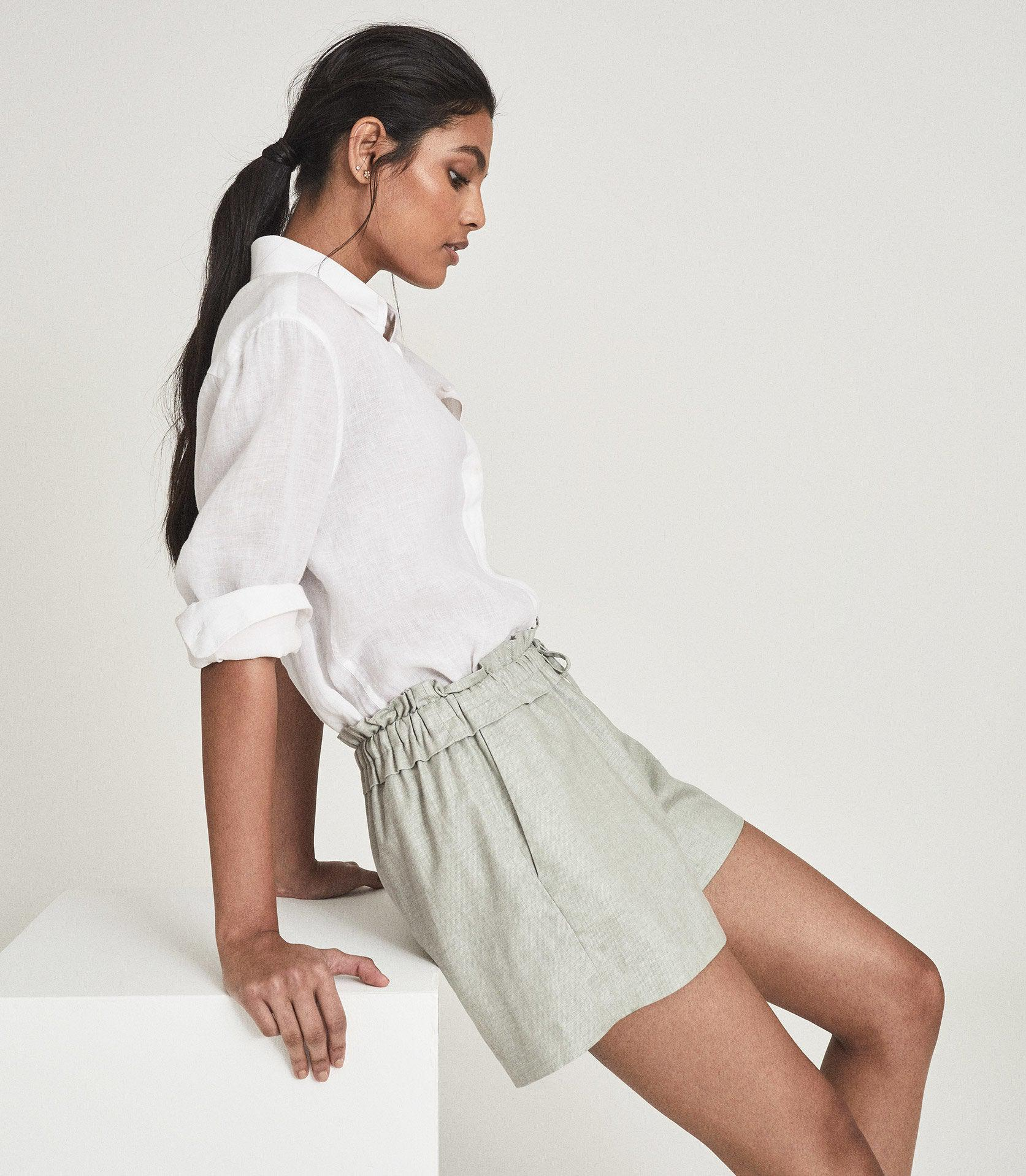 LACEY - LINEN BLEND DRAWCORD SHORTS 1