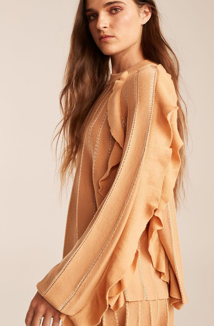 PLEATED STITCHED SWEATER WITH RUFFLES