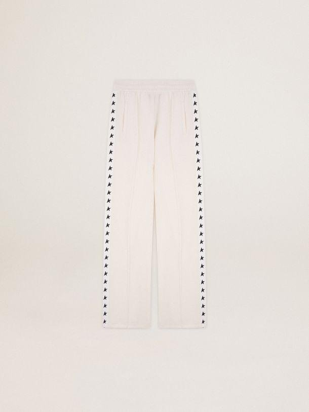 Papyrus white Dorotea Star Collection jogging pants with black stars on the sides 2