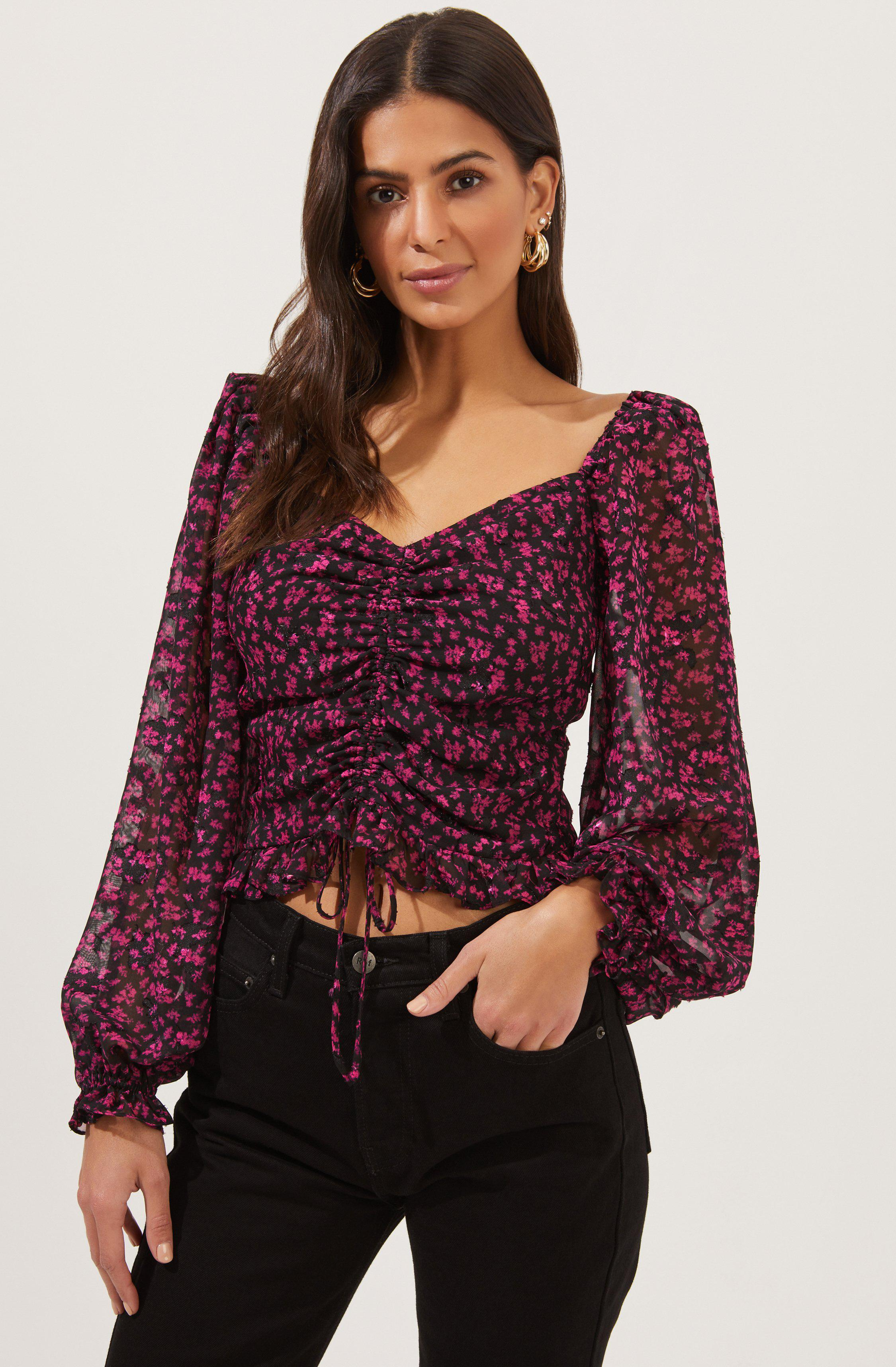 Love Song Floral Ruched Puff Sleeve Top