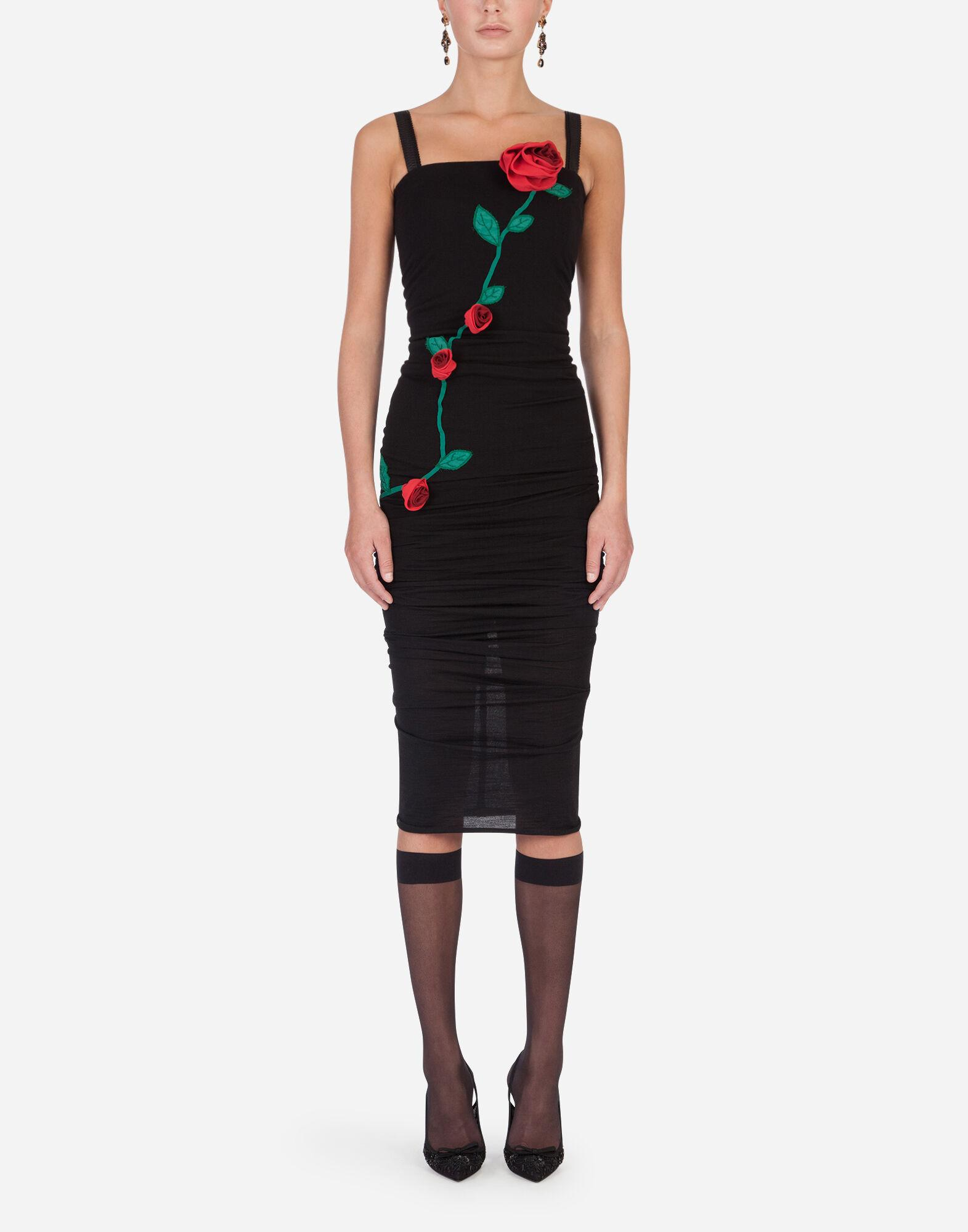 Sheath dress with rose embroidery