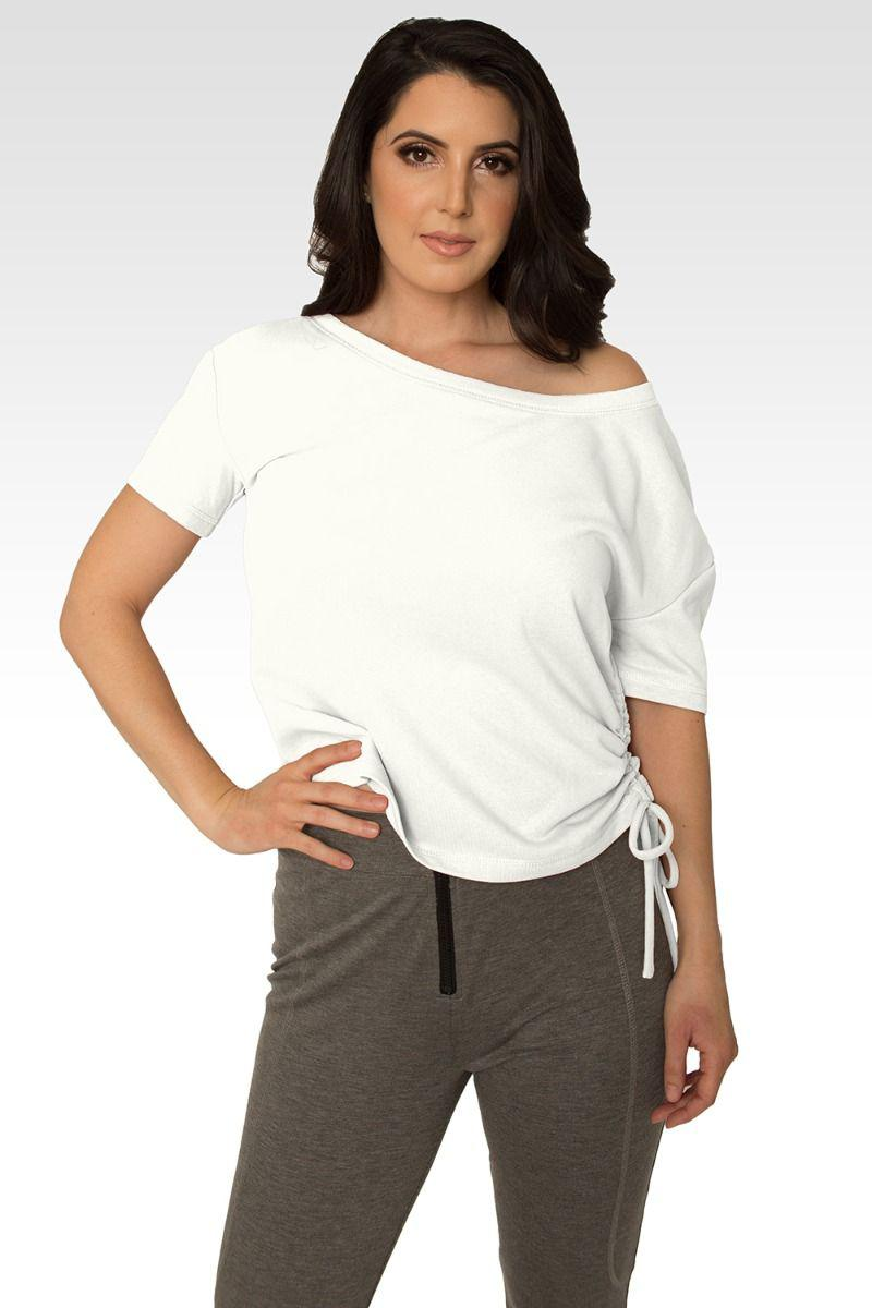 Nola Boat Neck French Terry Cream Ruched Tee