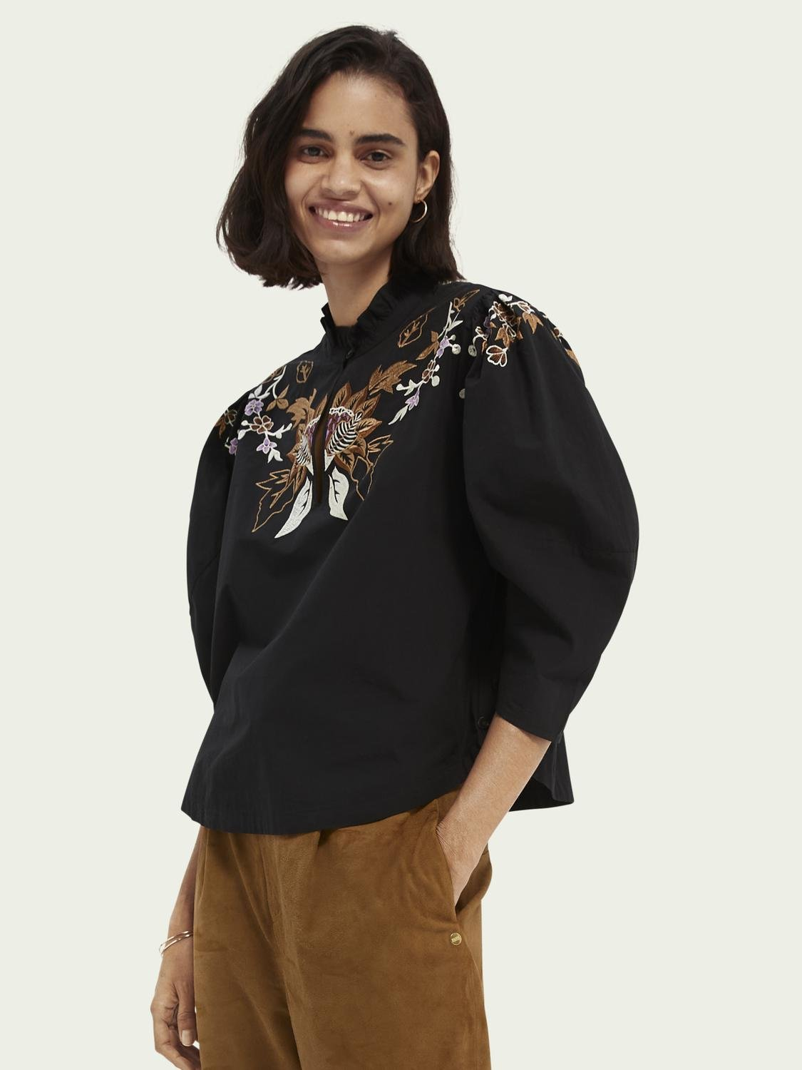 Embroidered organic cotton top