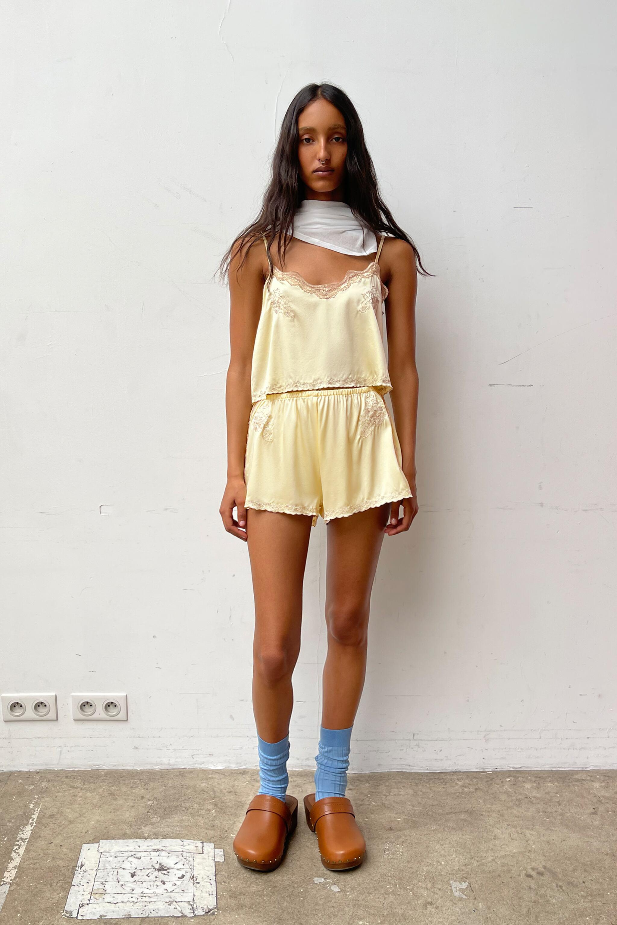 EMBROIDERED SILK SHORTS