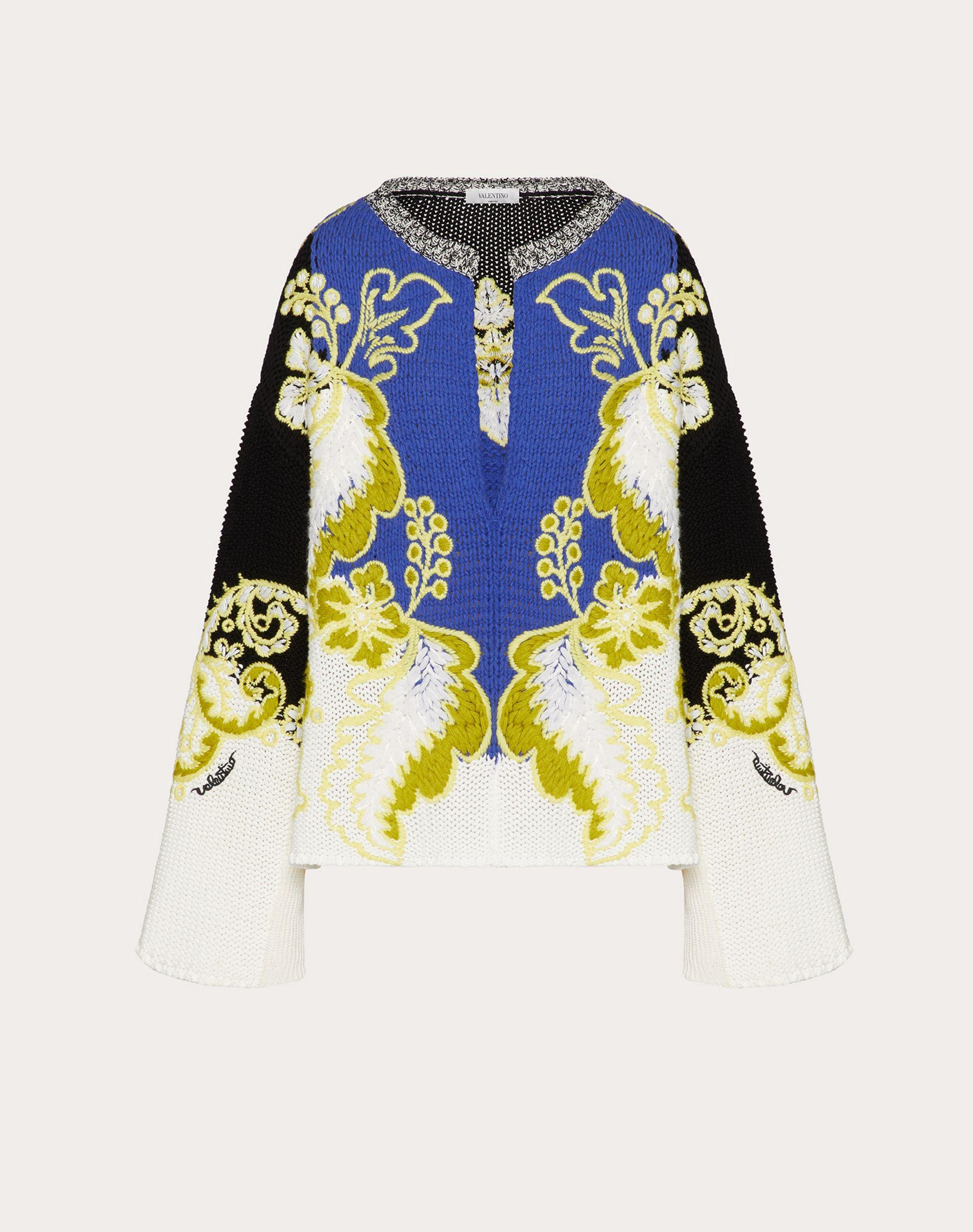EMBROIDERED WOOL CASHMERE COTTON SWEATER 4