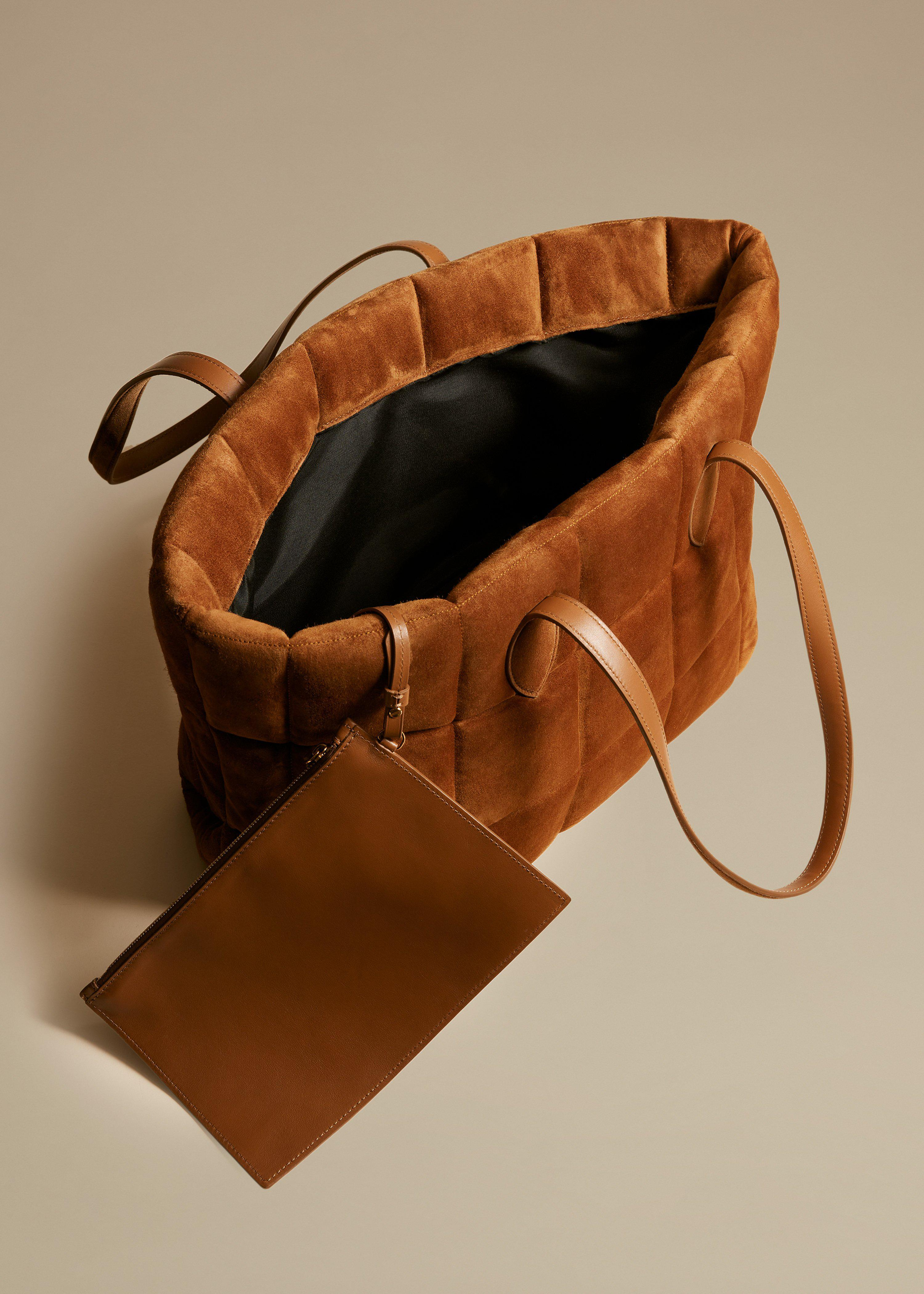 The Florence Quilted Tote in Caramel Suede 3