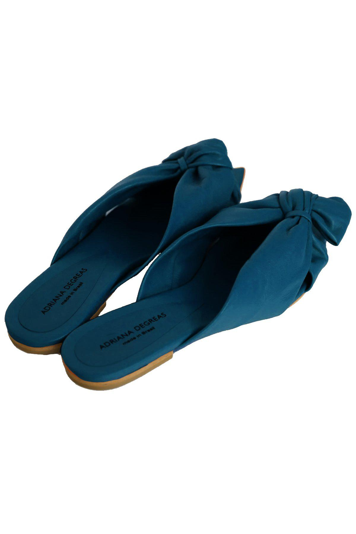 Turquoise Flat Sandals With Knot Detail