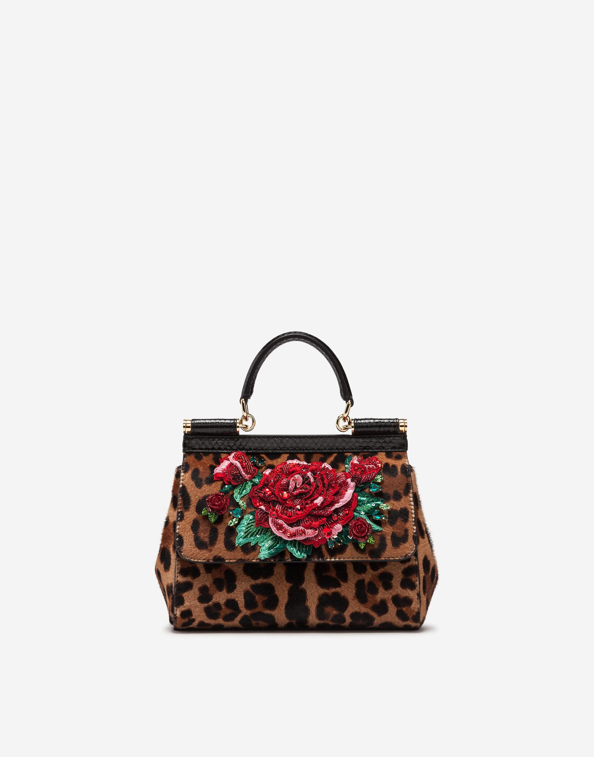 Medium Sicily bag in leopard print embroidered pony