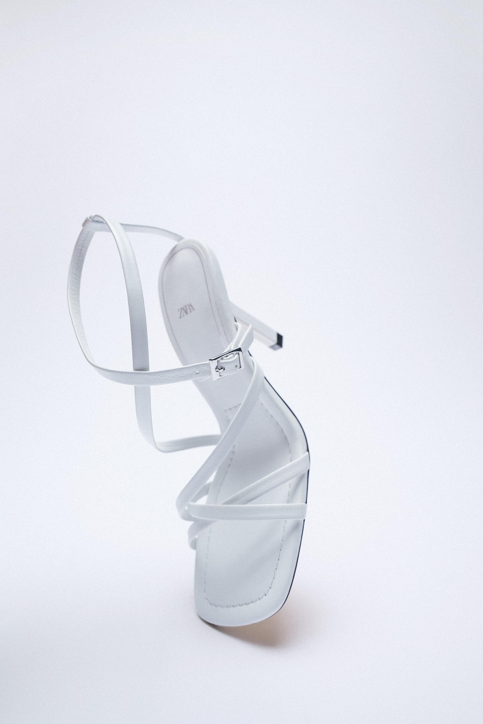 LEATHER HIGH HEEL STRAPPY SANDALS WITH BUCKLE 12