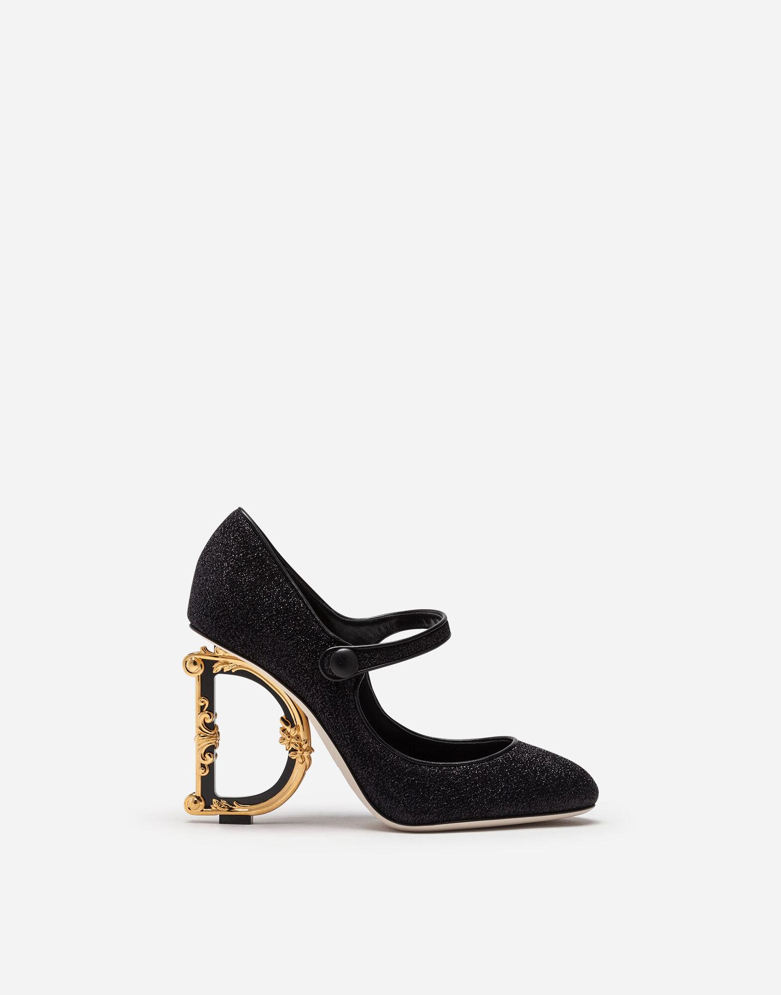 Mary Janes in lurex with sculpted heel