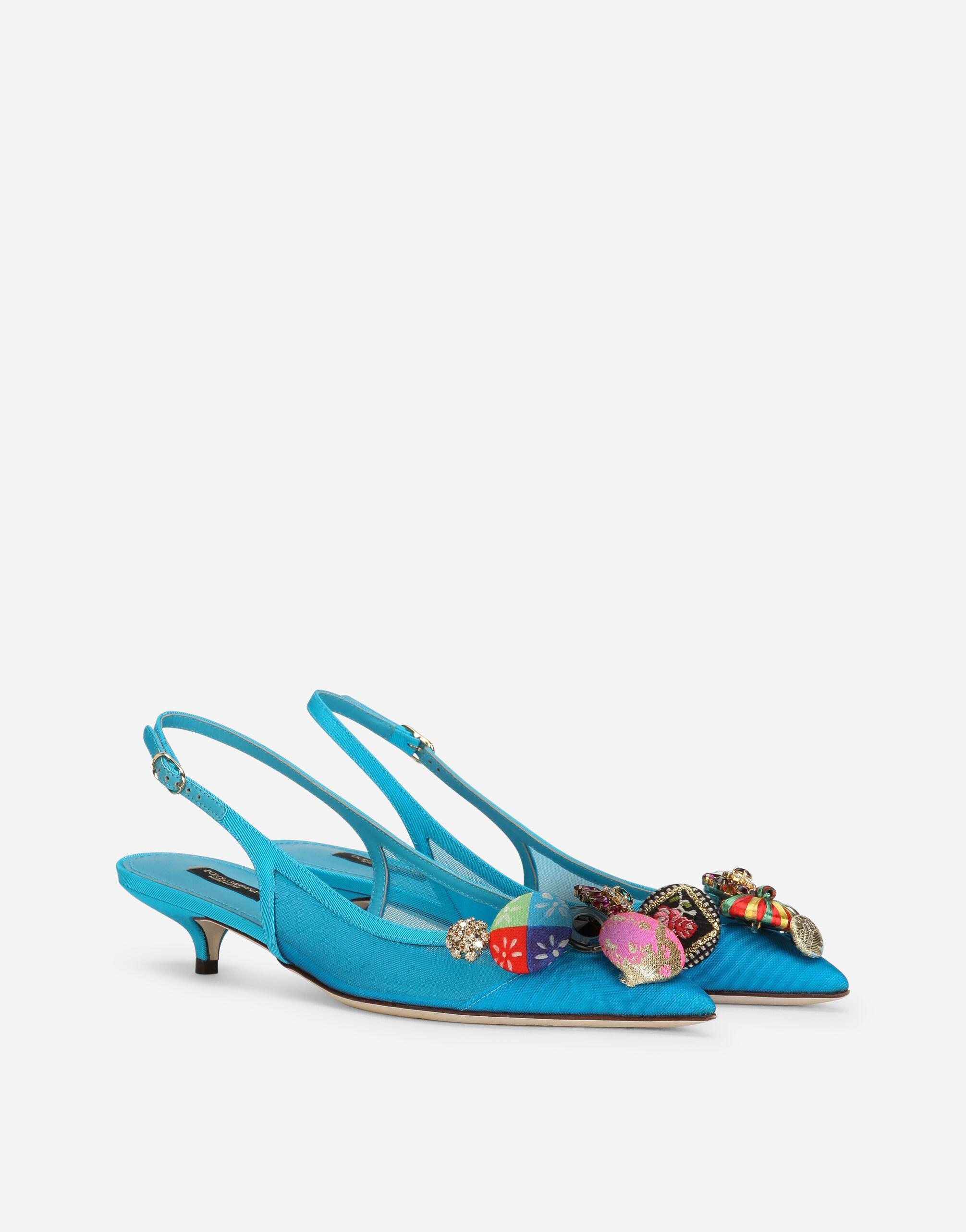 Mesh slingbacks with bejeweled buttons 1