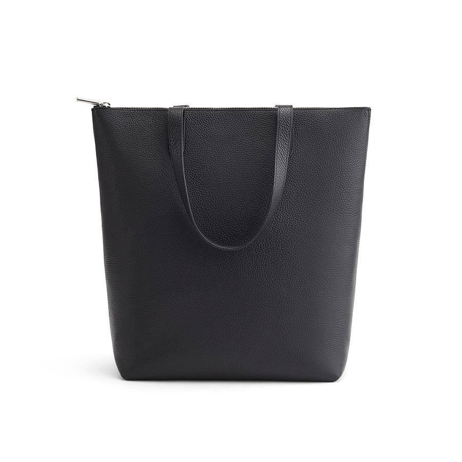 Women's Tall Structured Leather Zipper Tote Bag in Black/Silver | Pebbled Leather by Cuyana