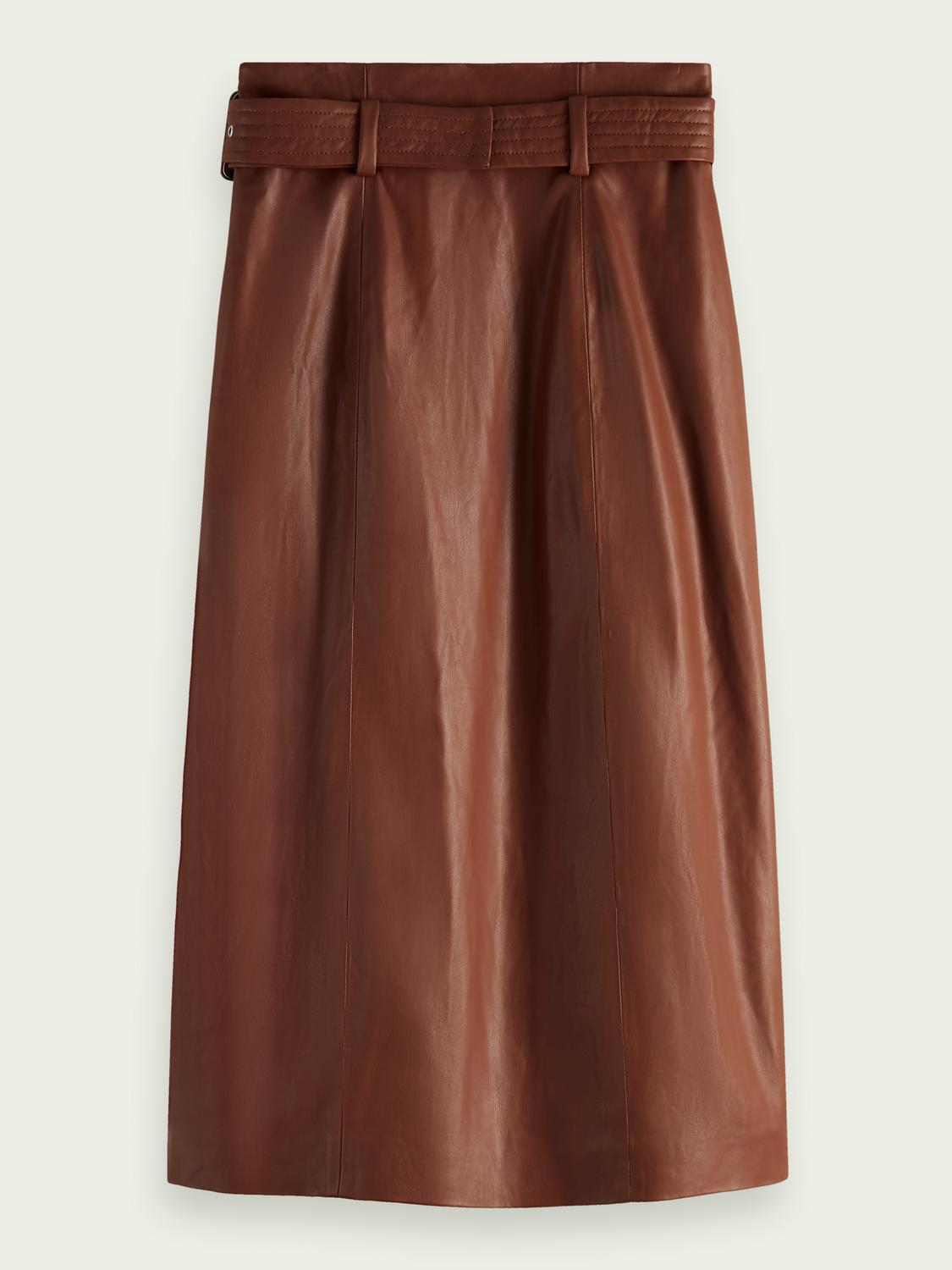 Wrap-over faux leather skirt 1