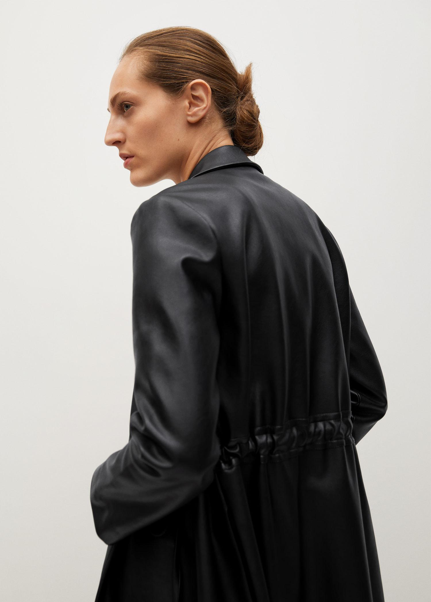 Leather-effect coat with belt 8