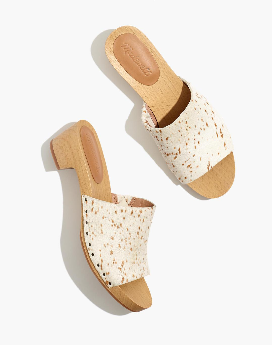 The Evelyn Slide Clog in Spotted Calf Hair