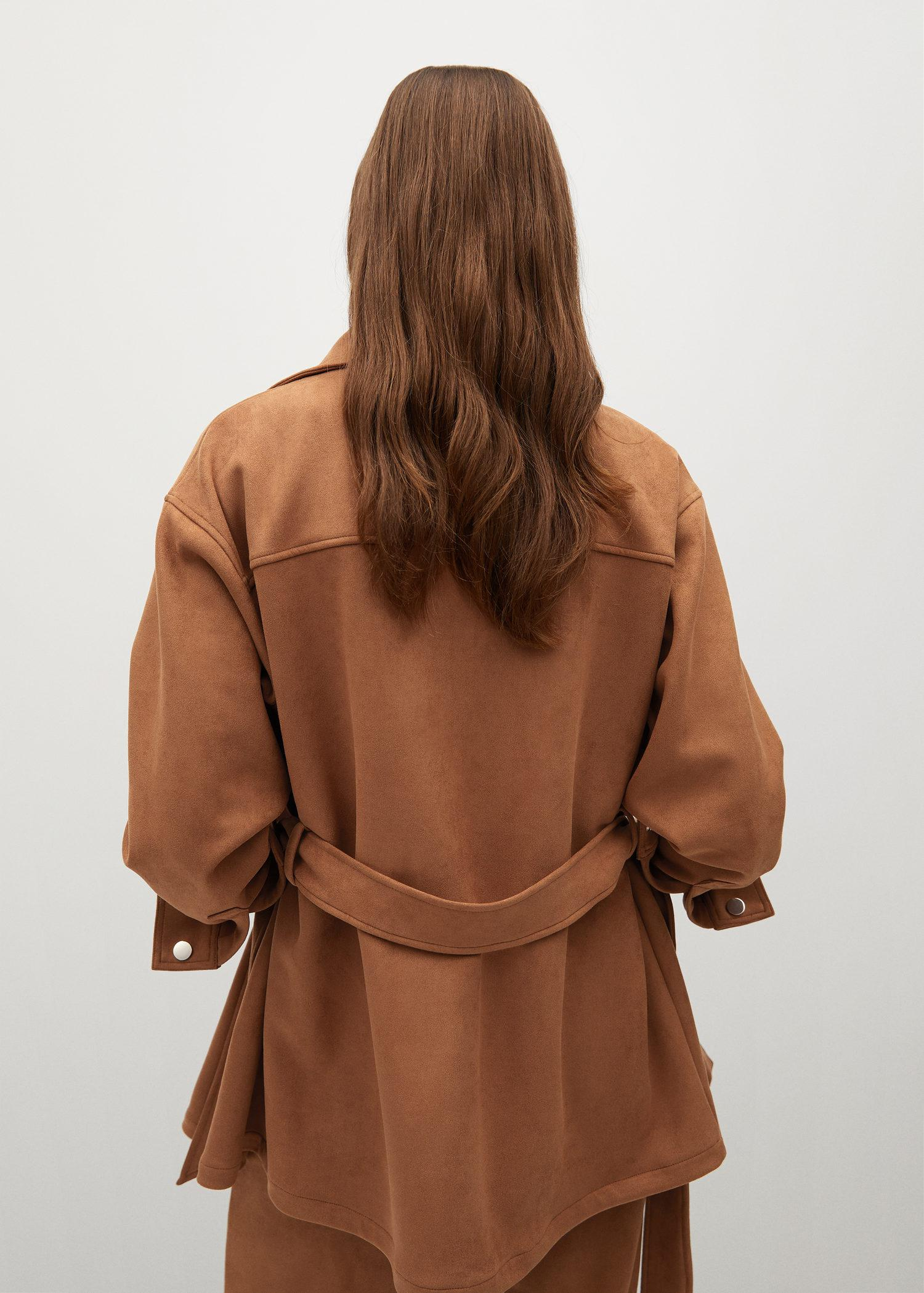 Leather-effect jacket with belt 1