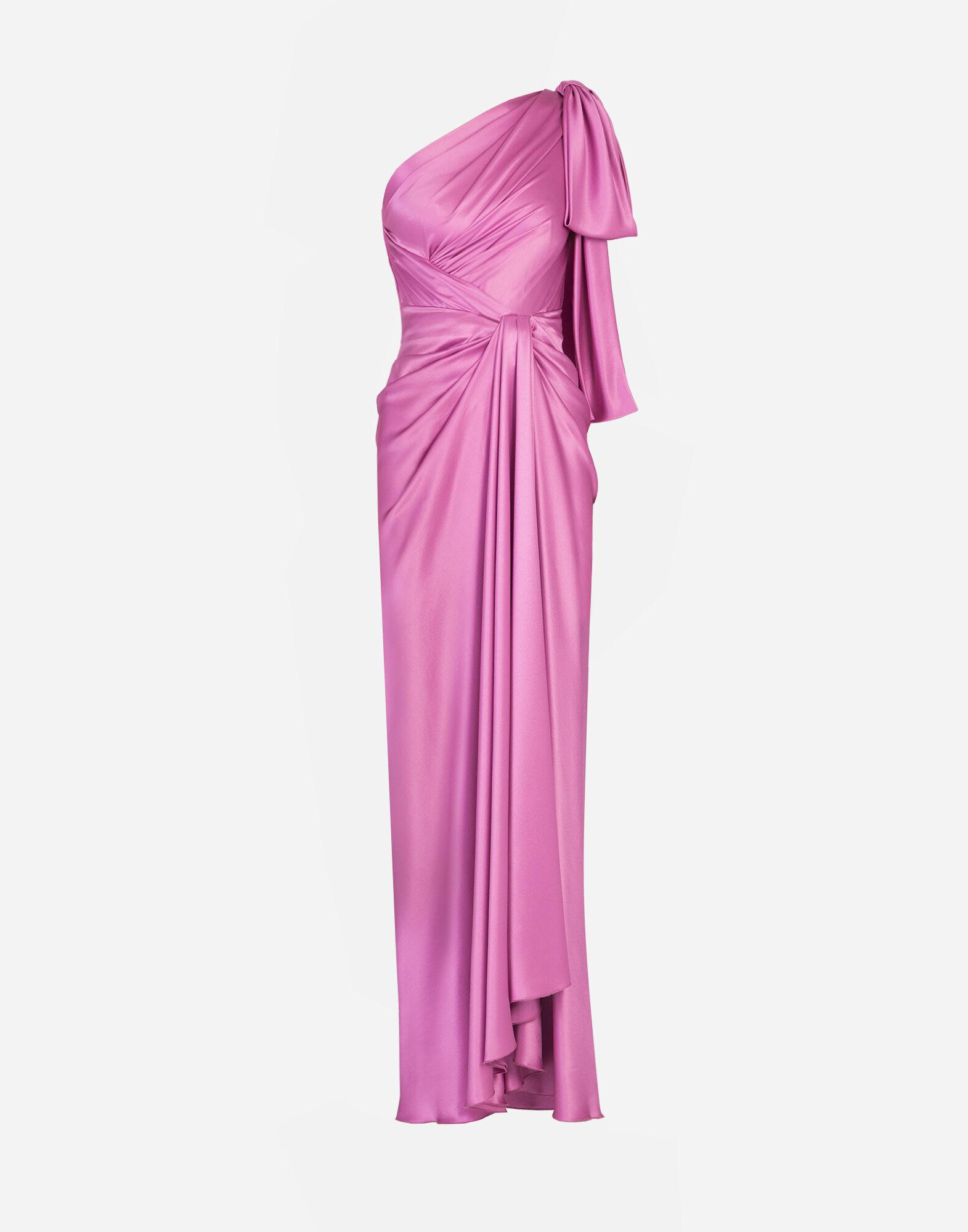 Long one-shoulder silk dress with bow detail 2