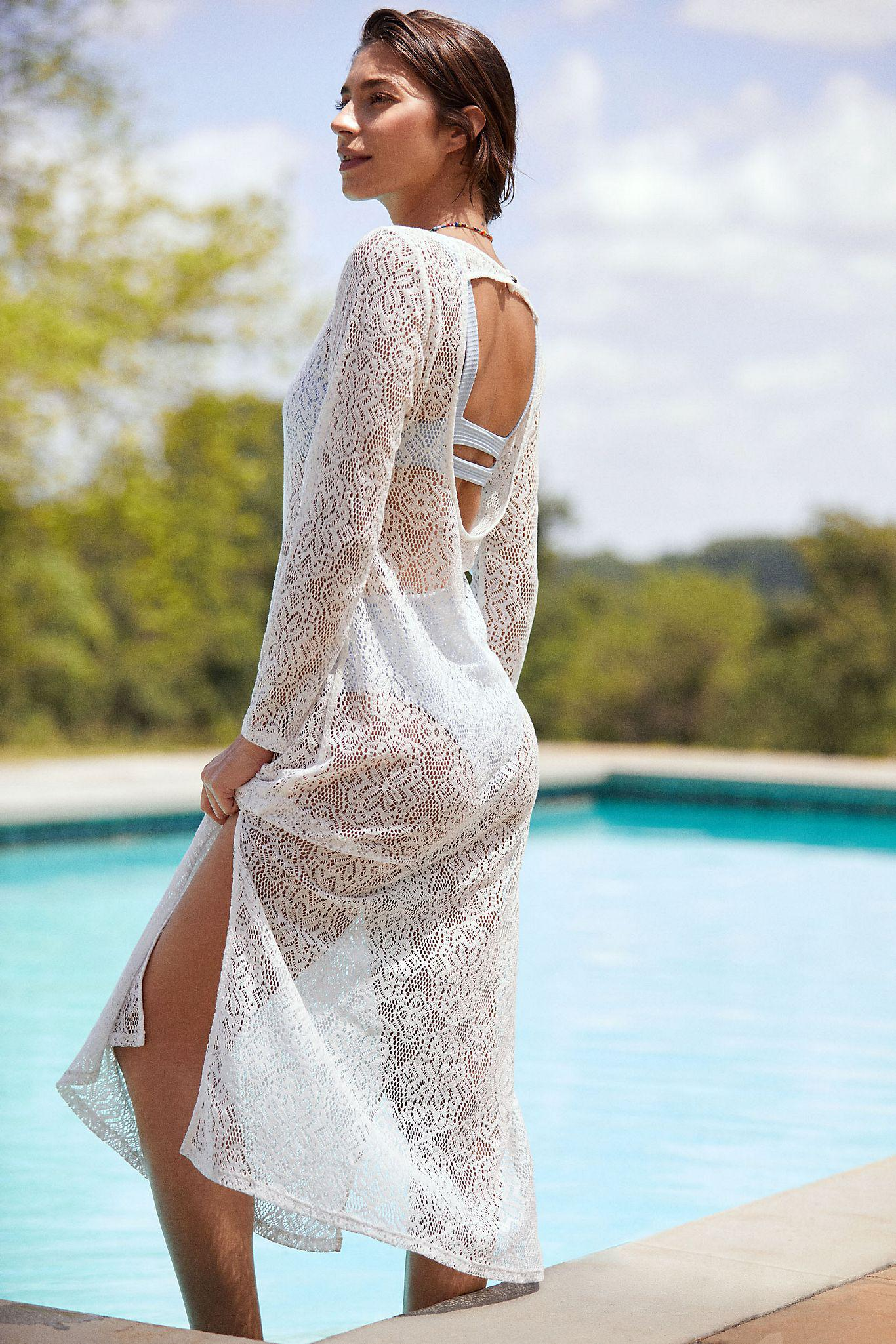 Lace Open-Back Cover-Up Maxi Dress