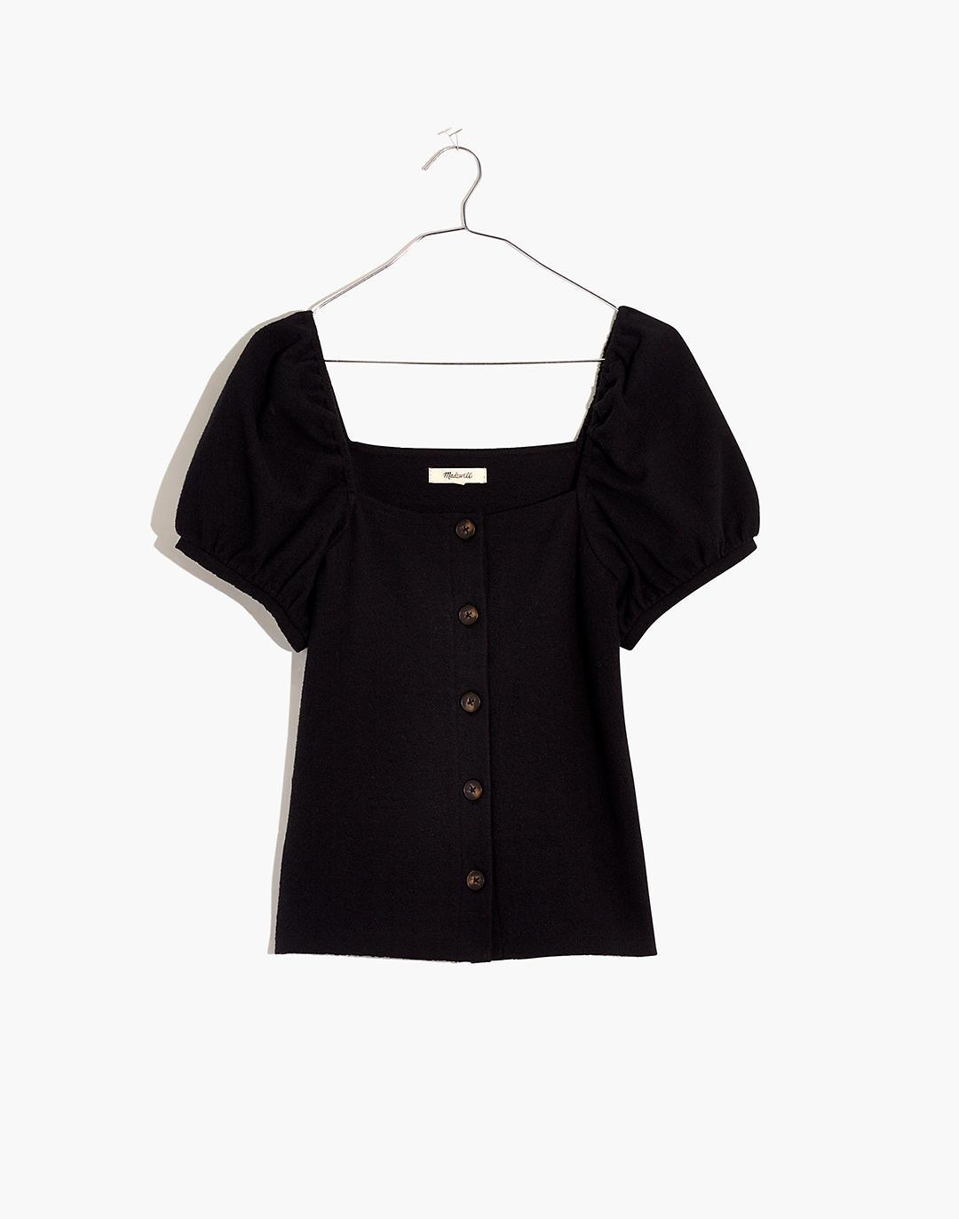 Jacquard Square-Neck Puff-Sleeve Top