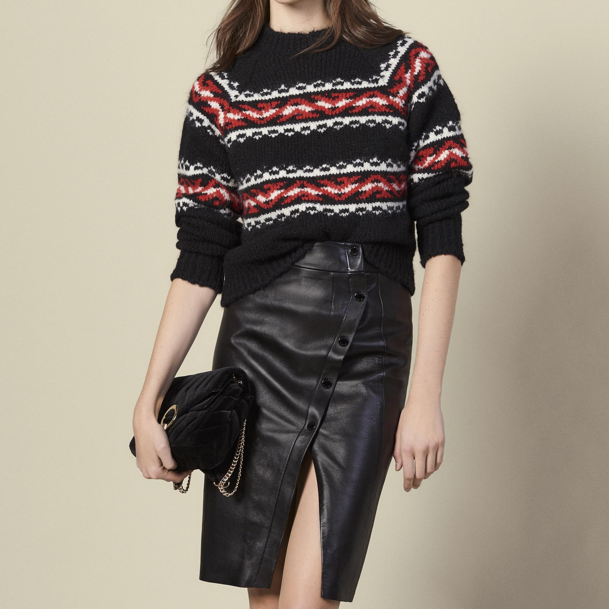 Leather wrapover skirt with slit