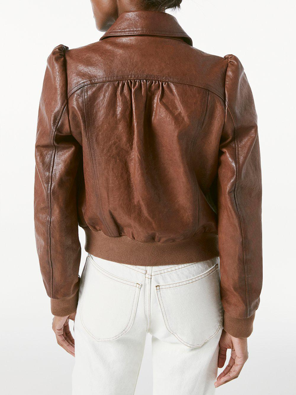 Femme Leather Bomber -- Deep Tobacco 3