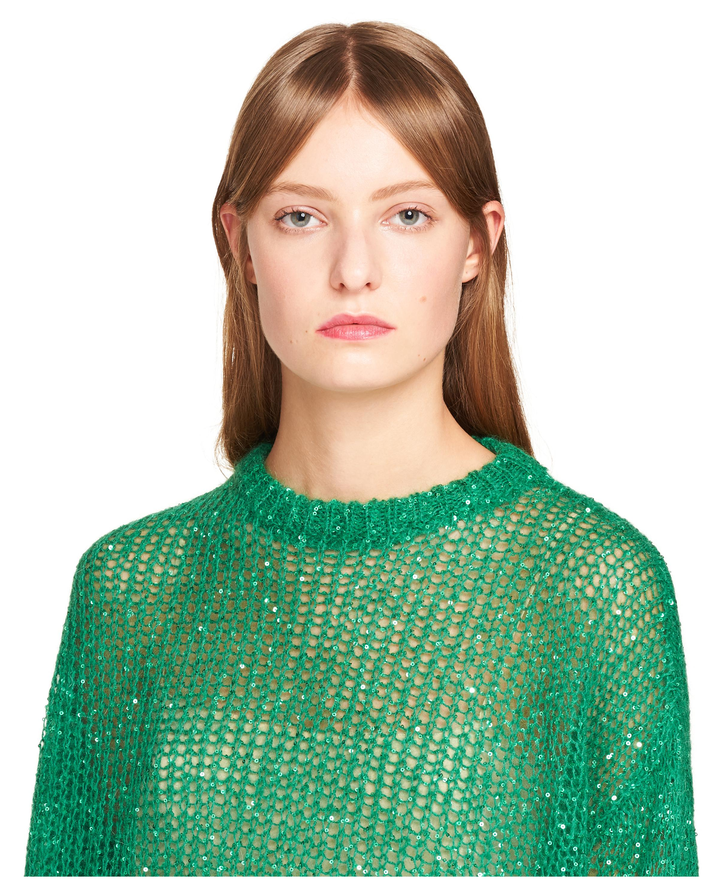 Sequined Mohair Pullover Women Lawn Green 4