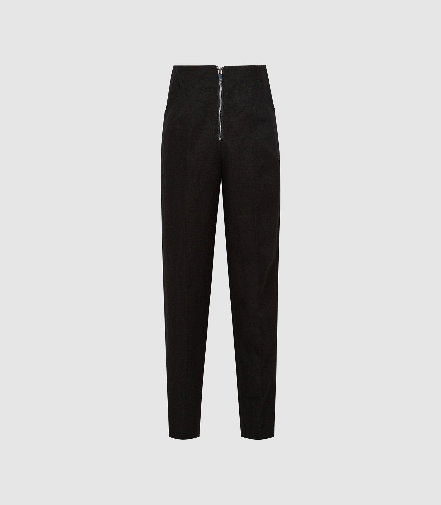 CALLY - LINEN BLEND TROUSERS WITH EXPOSED ZIP 4