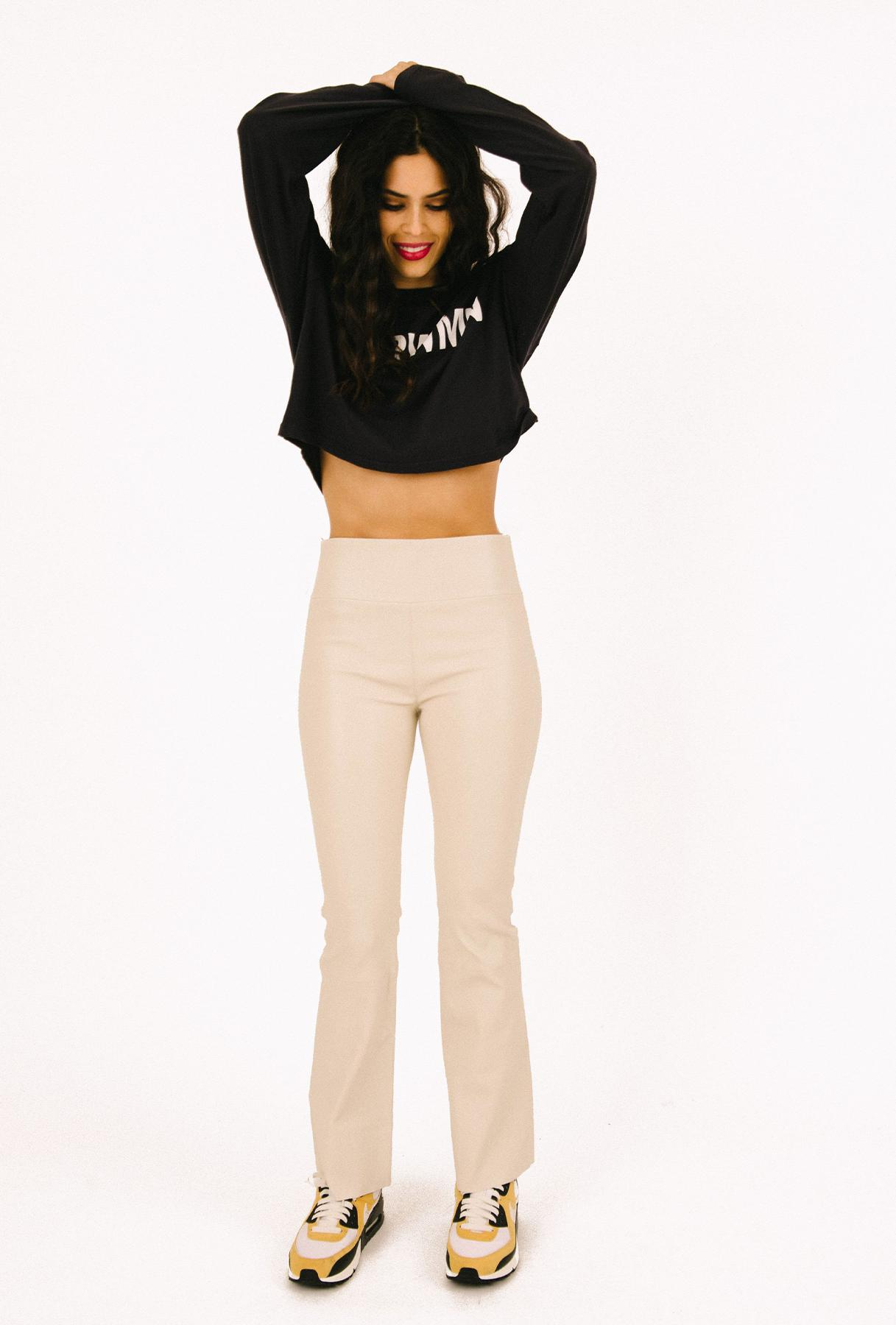 Off White Leather Ankle Flare Legging 1