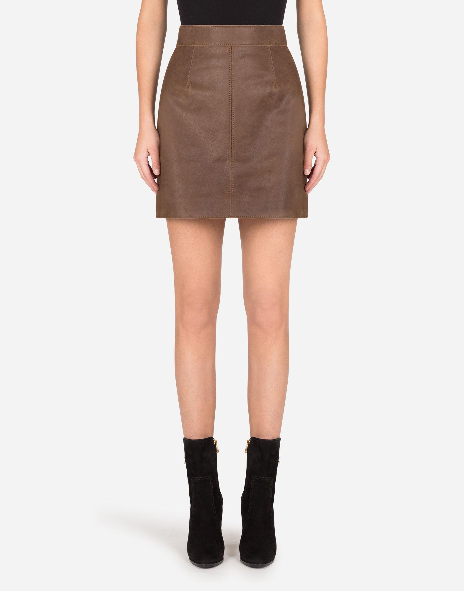 A-line miniskirt in hammered nappa leather