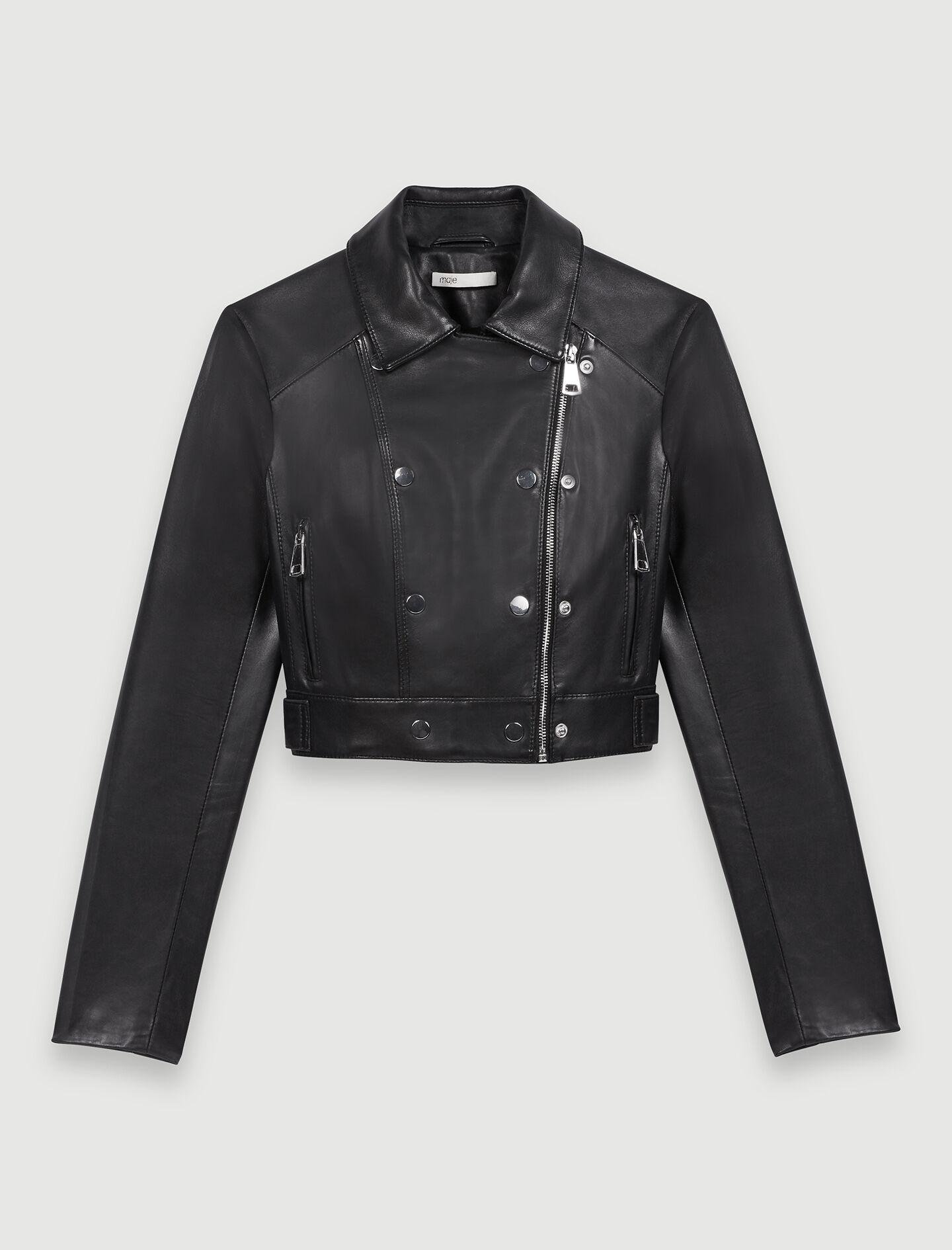 SHORT LEATHER JACKET WITH ASYMMETRIC ZIP 5