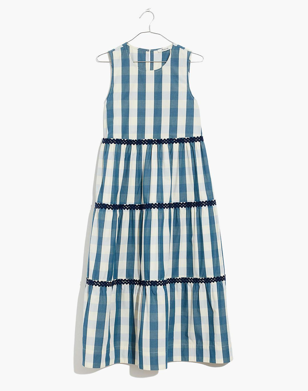 Plus Rickrack Cattail Tiered Dress in Gingham Check