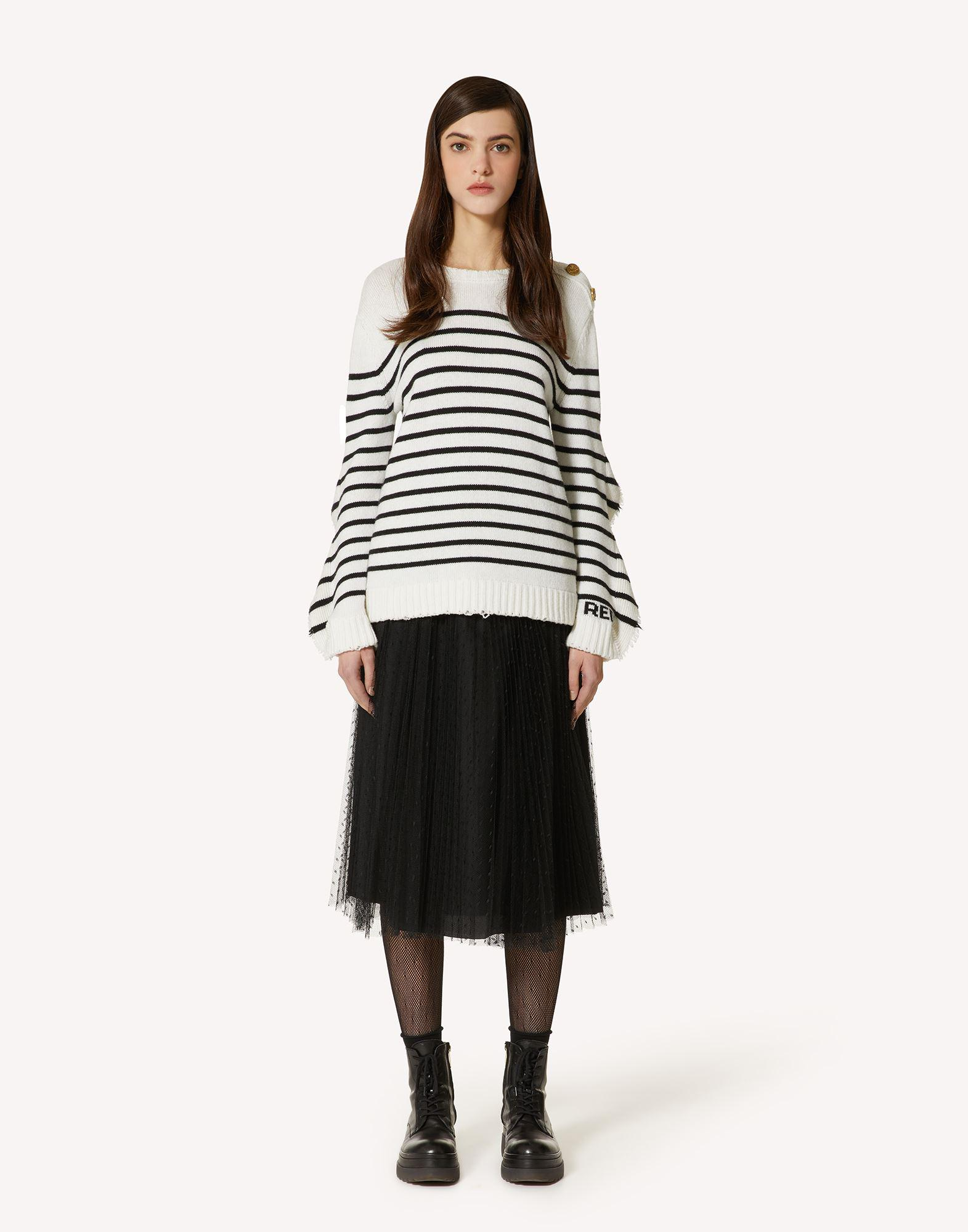 STRIPED WOOL-BLEND SWEATER WITH RUFFLE DETAIL