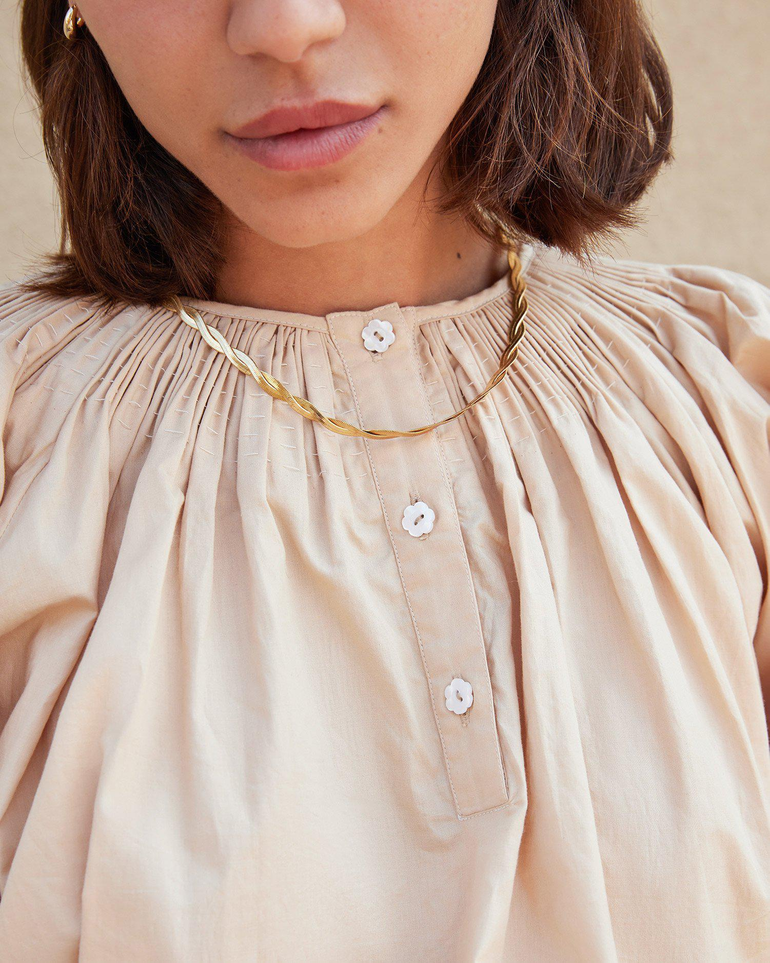 Lucia Sand Smocked Blouse 2