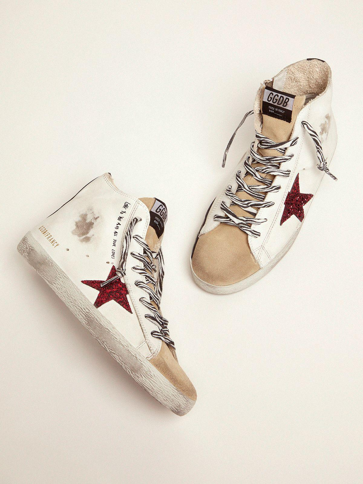 Francy sneakers with red glittery star and handwritten lettering 1