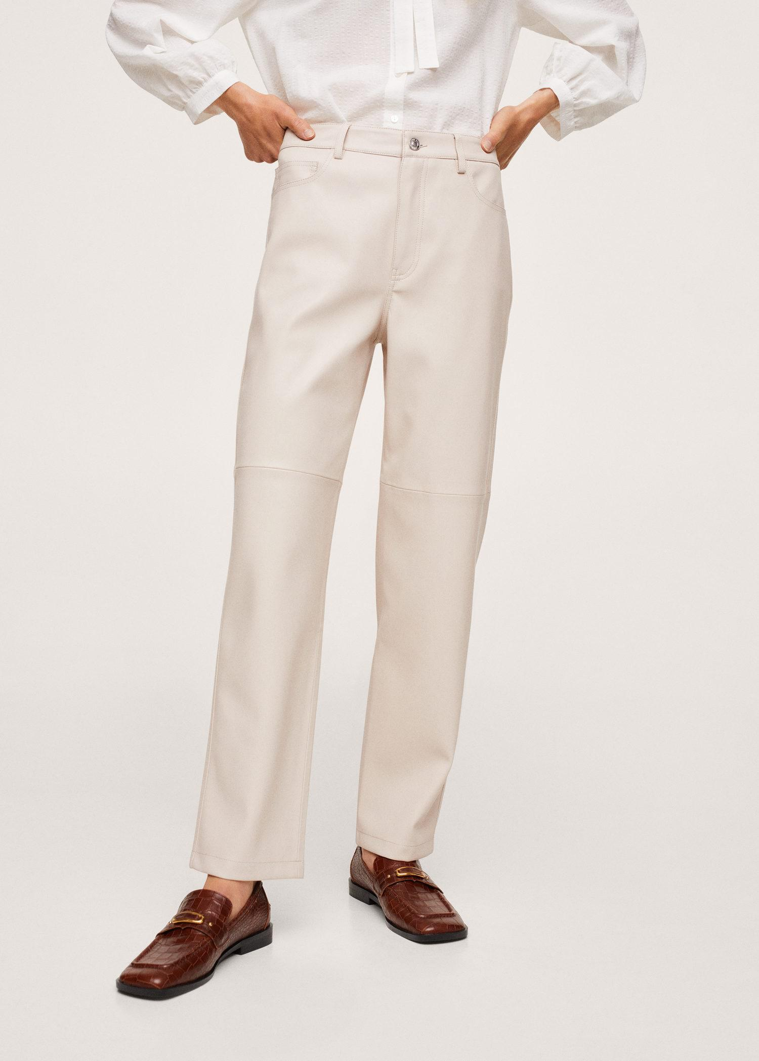 Leather-effect straight trousers