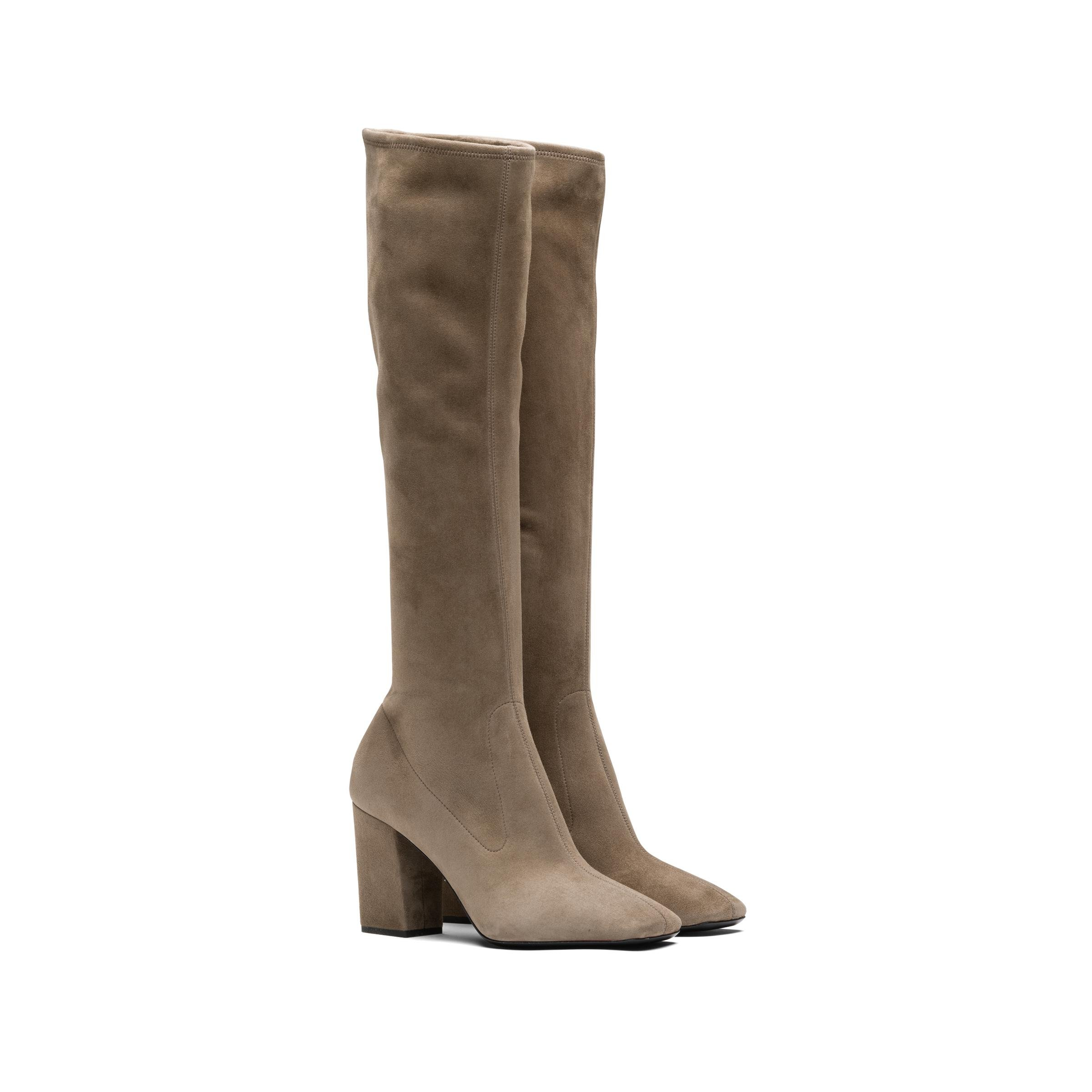 Stretch Suede Boots Women Stone