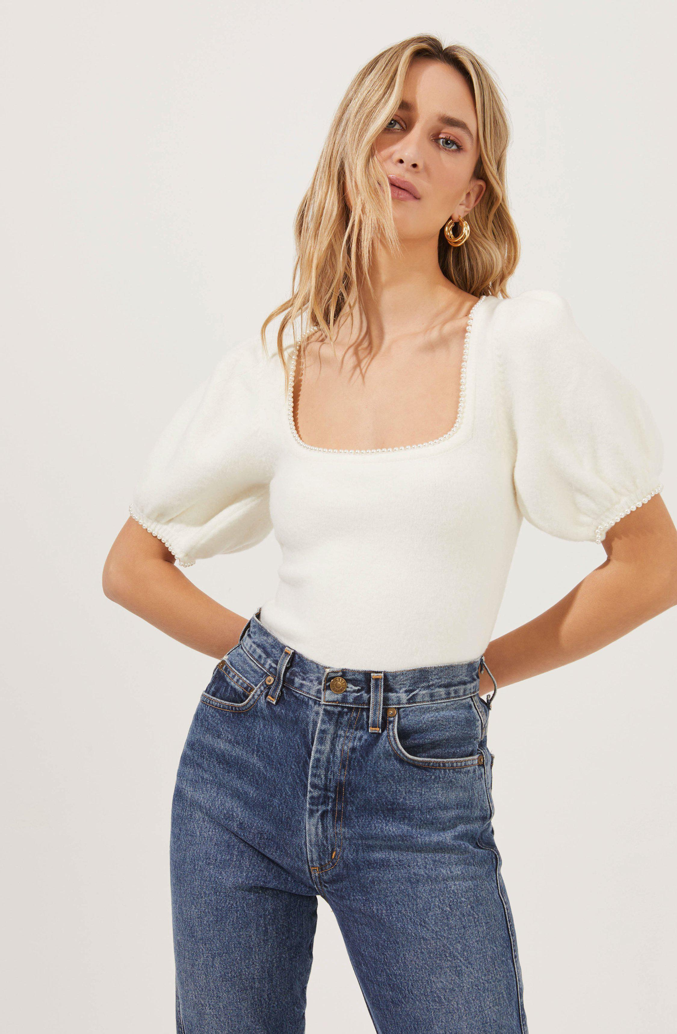 Sweet Life Faux Pearl Trimmed Puff Sleeve Sweater