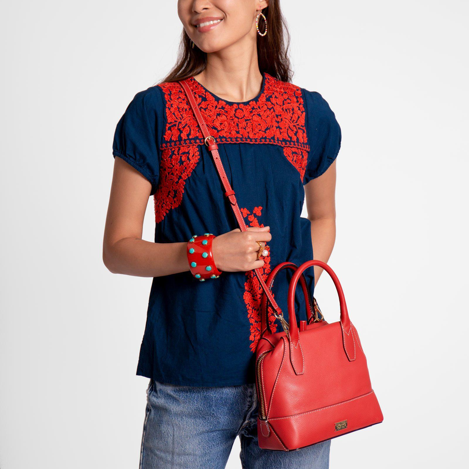 Small Abby Tote Tumbled Leather Red 6