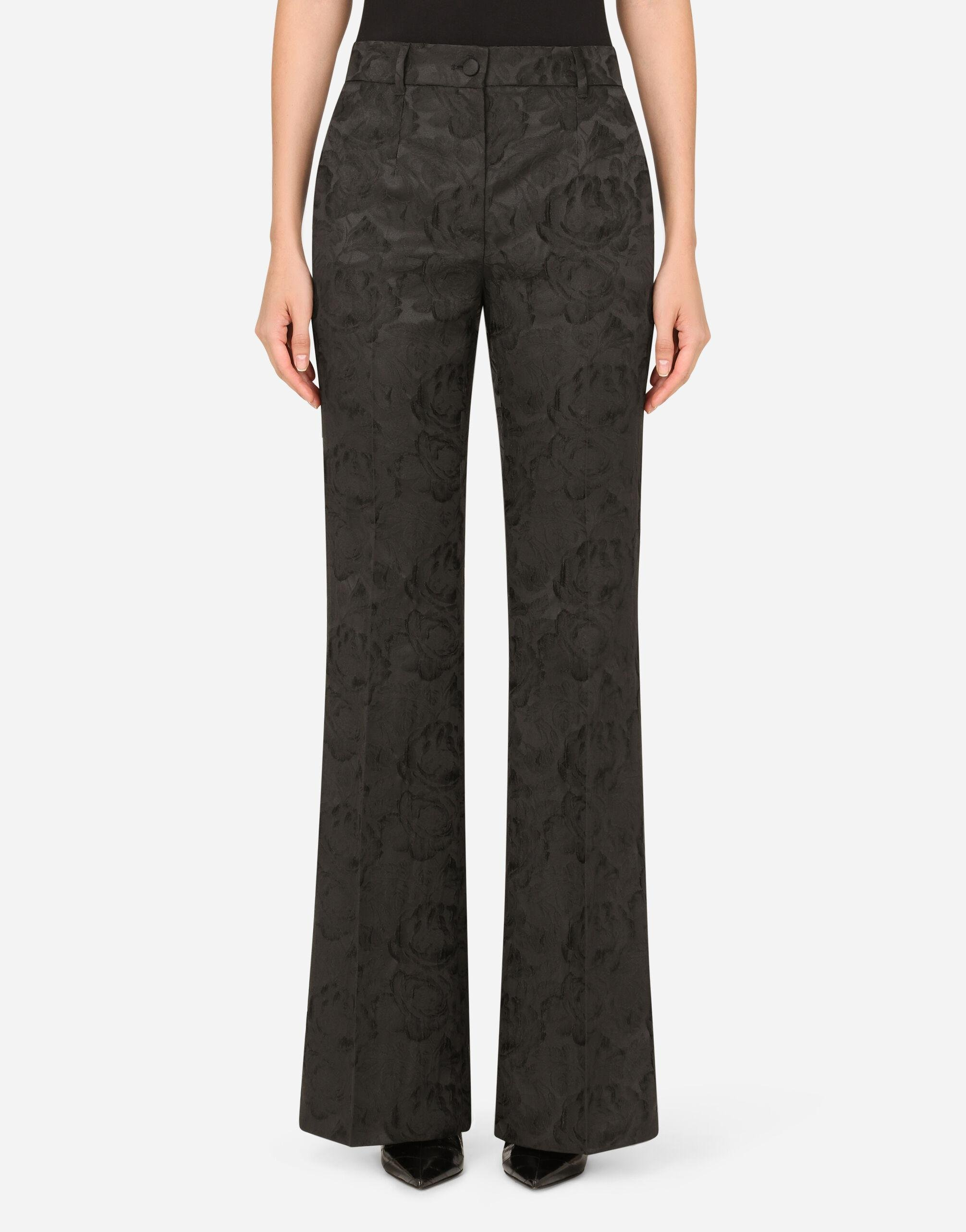 Stretch jacquard pants with braided details