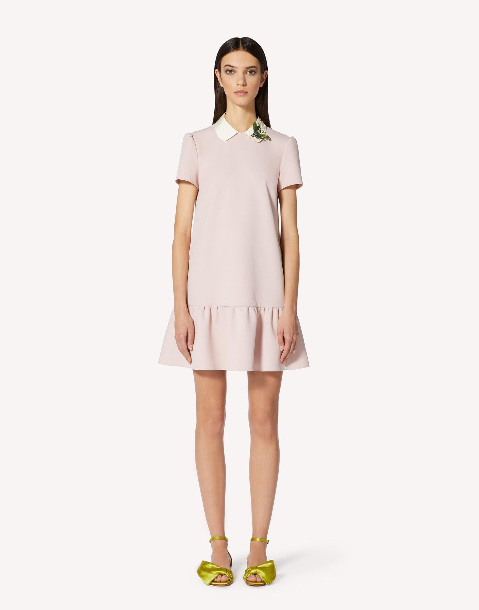 CREPE DOUBLE STRETCH DRESS WITH MAY LILY PATCH
