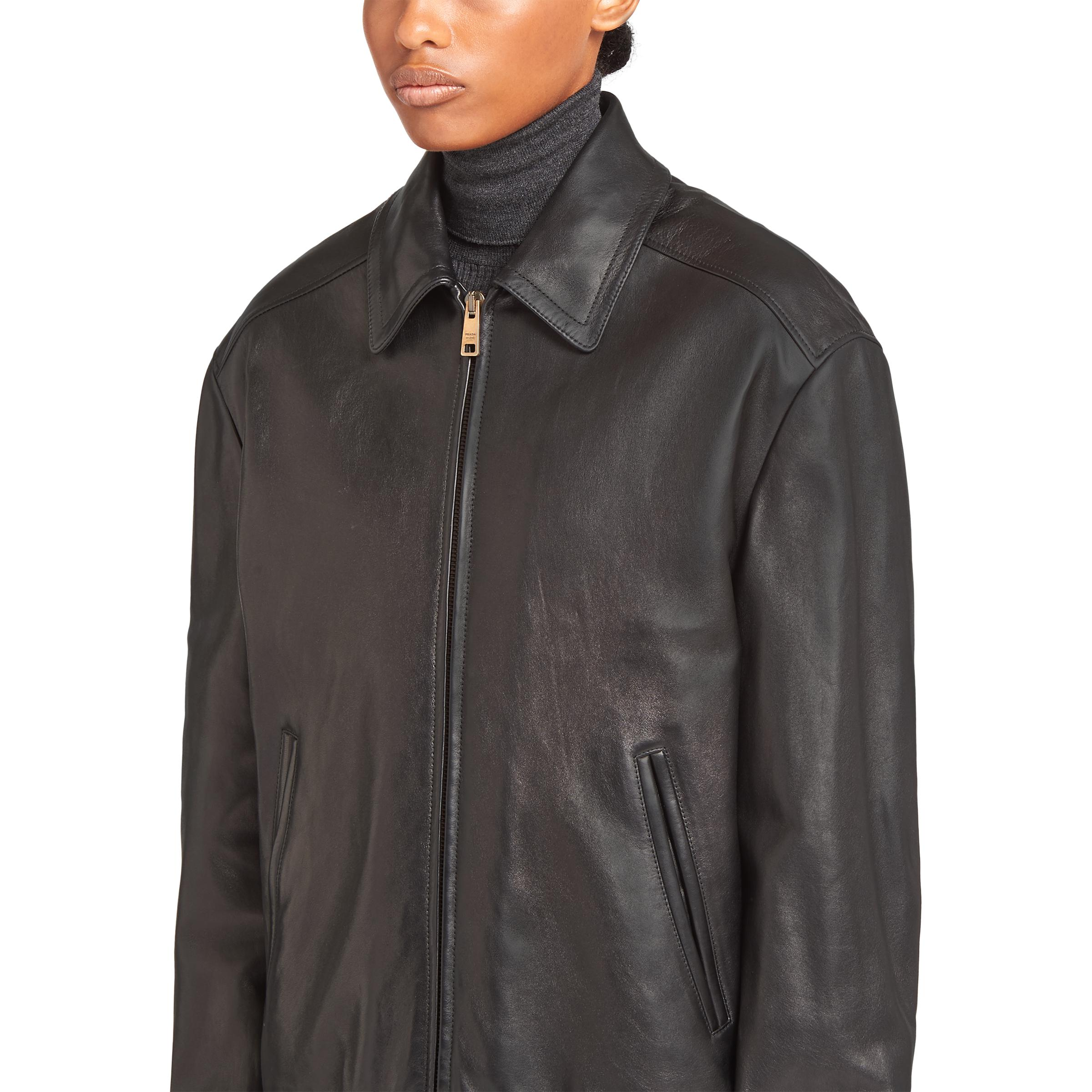 Nappa Leather And Shearling Bomber Jacket Women Black 4