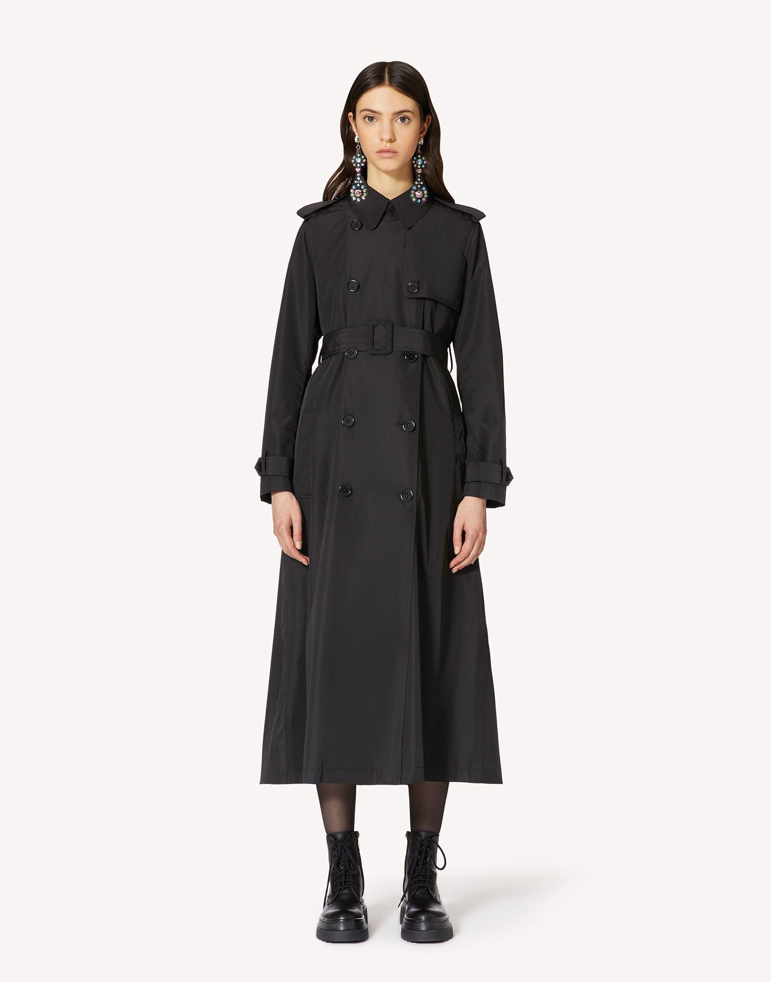 NYLON TRENCH COAT WITH PLEATED BACK
