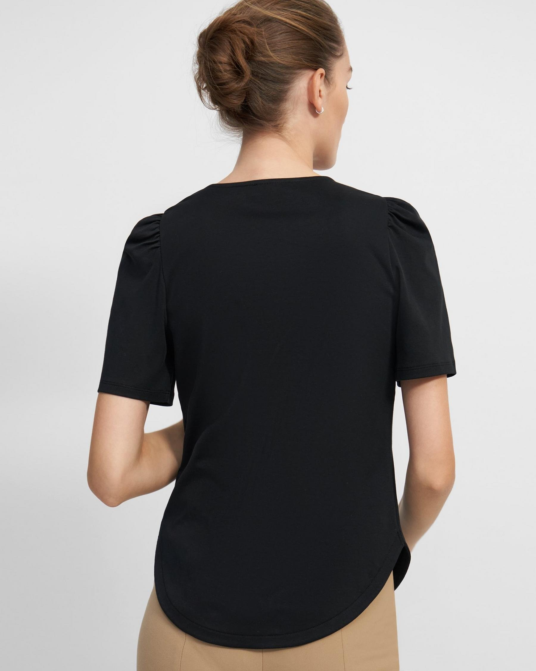 Short-Sleeve Ruched Tee in Cotton Jersey 2