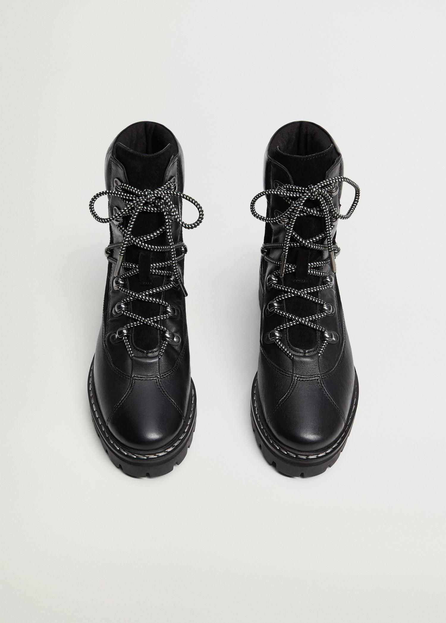 Contrast lace-up leather boots 3