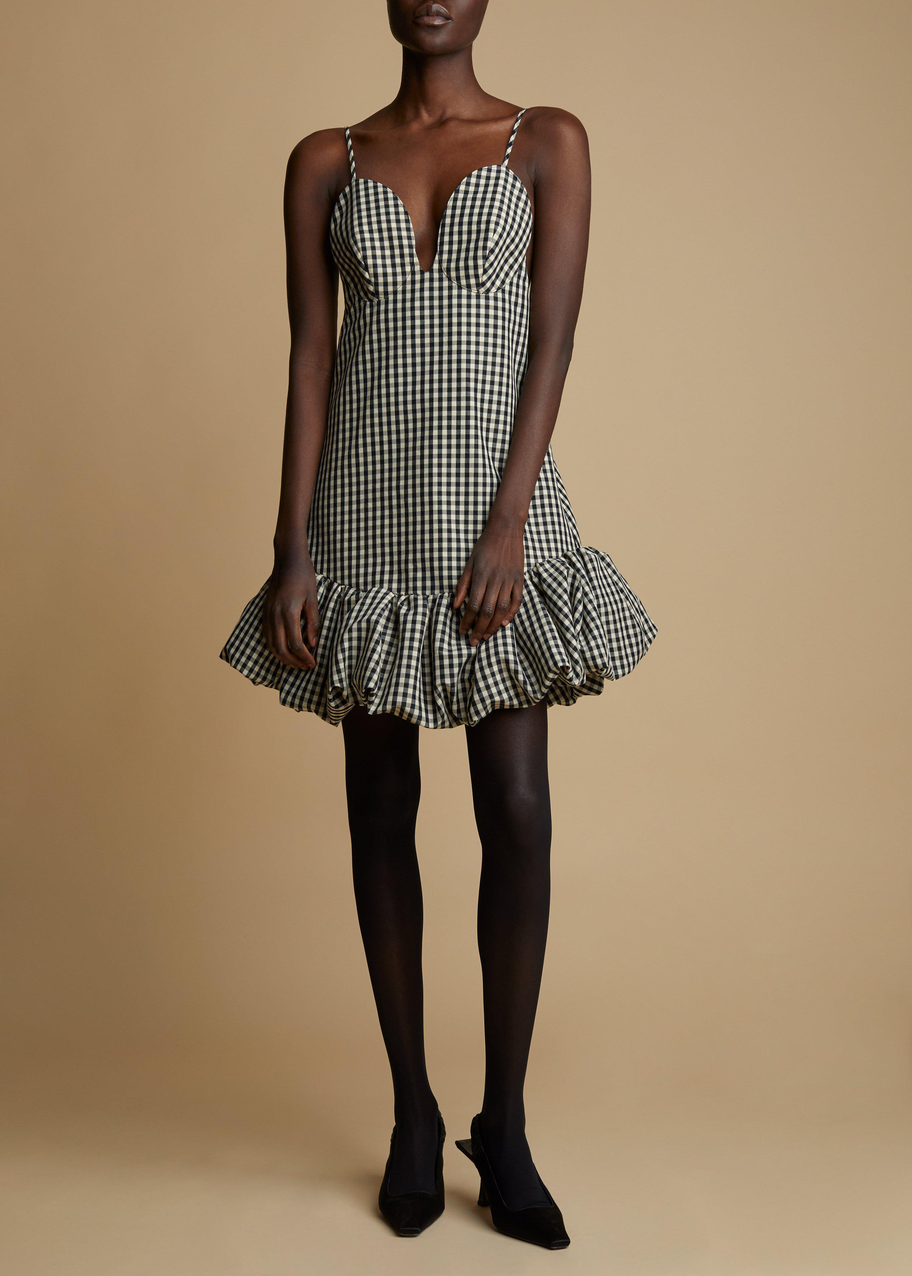The Sienna Dress in Black and White Gingham