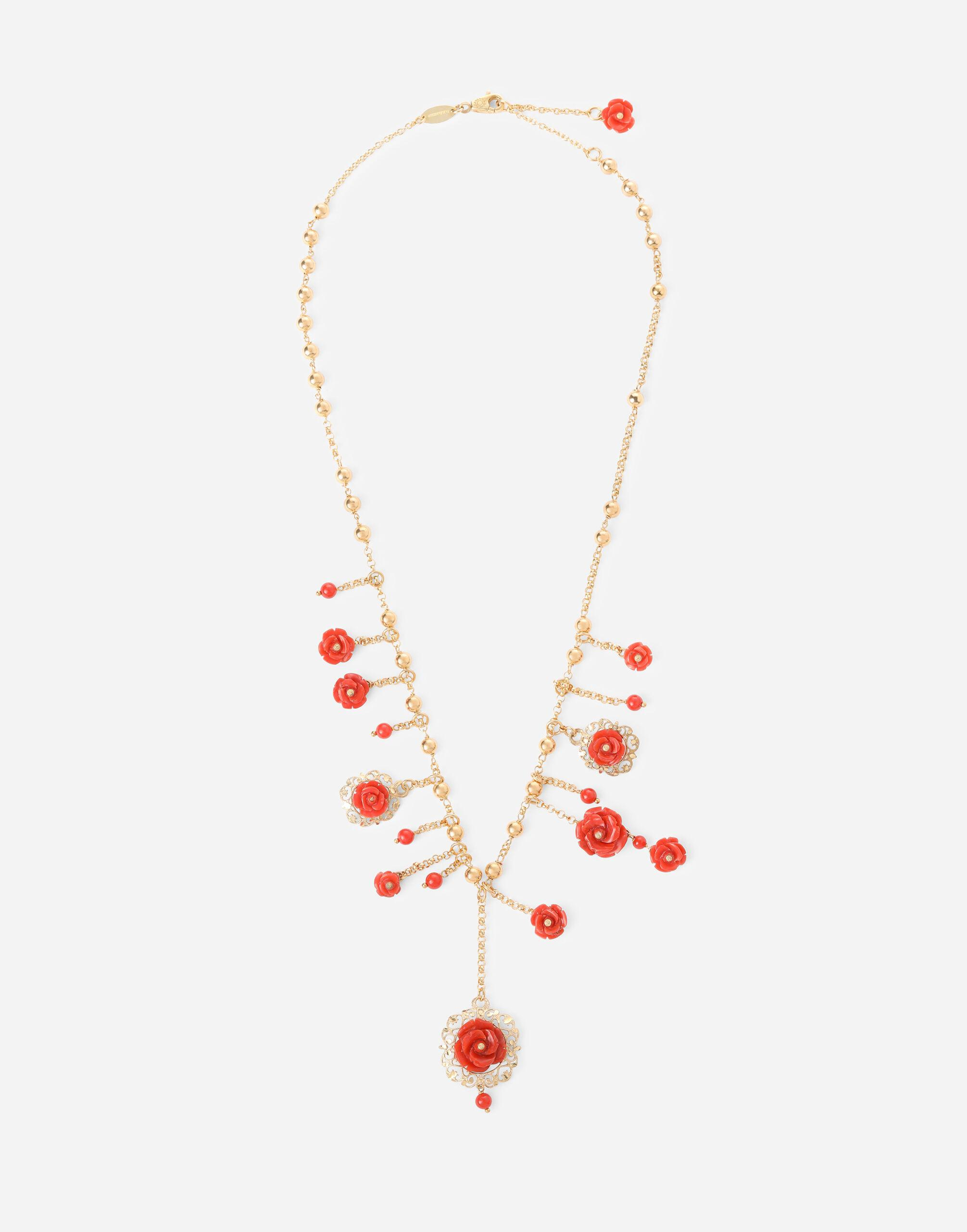 Coral necklace in yellow 18kt gold with coral rose